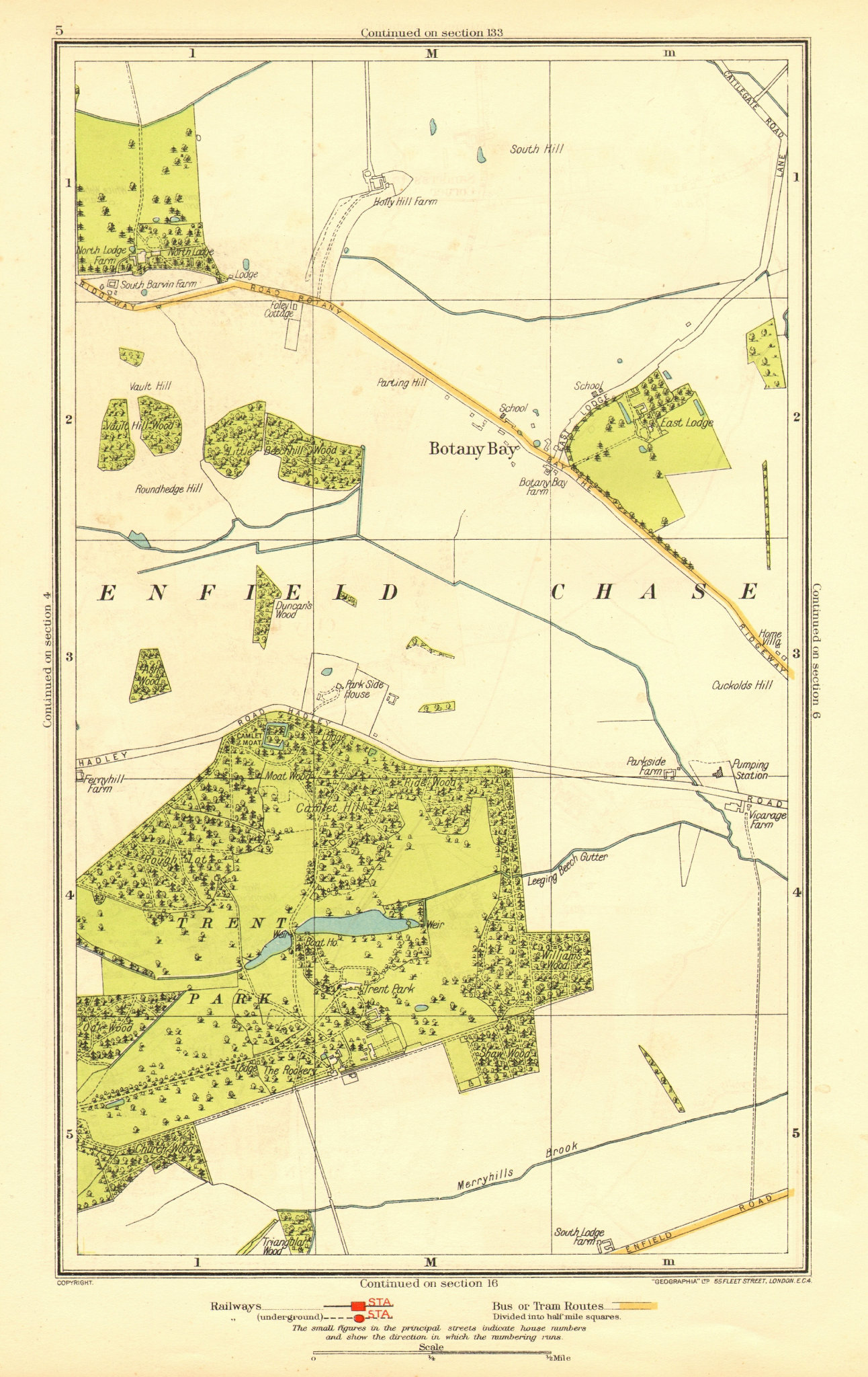 Associate Product ENFIELD CHASE. Botany Bay Trent Park Southgate East Barnet 1937 old map