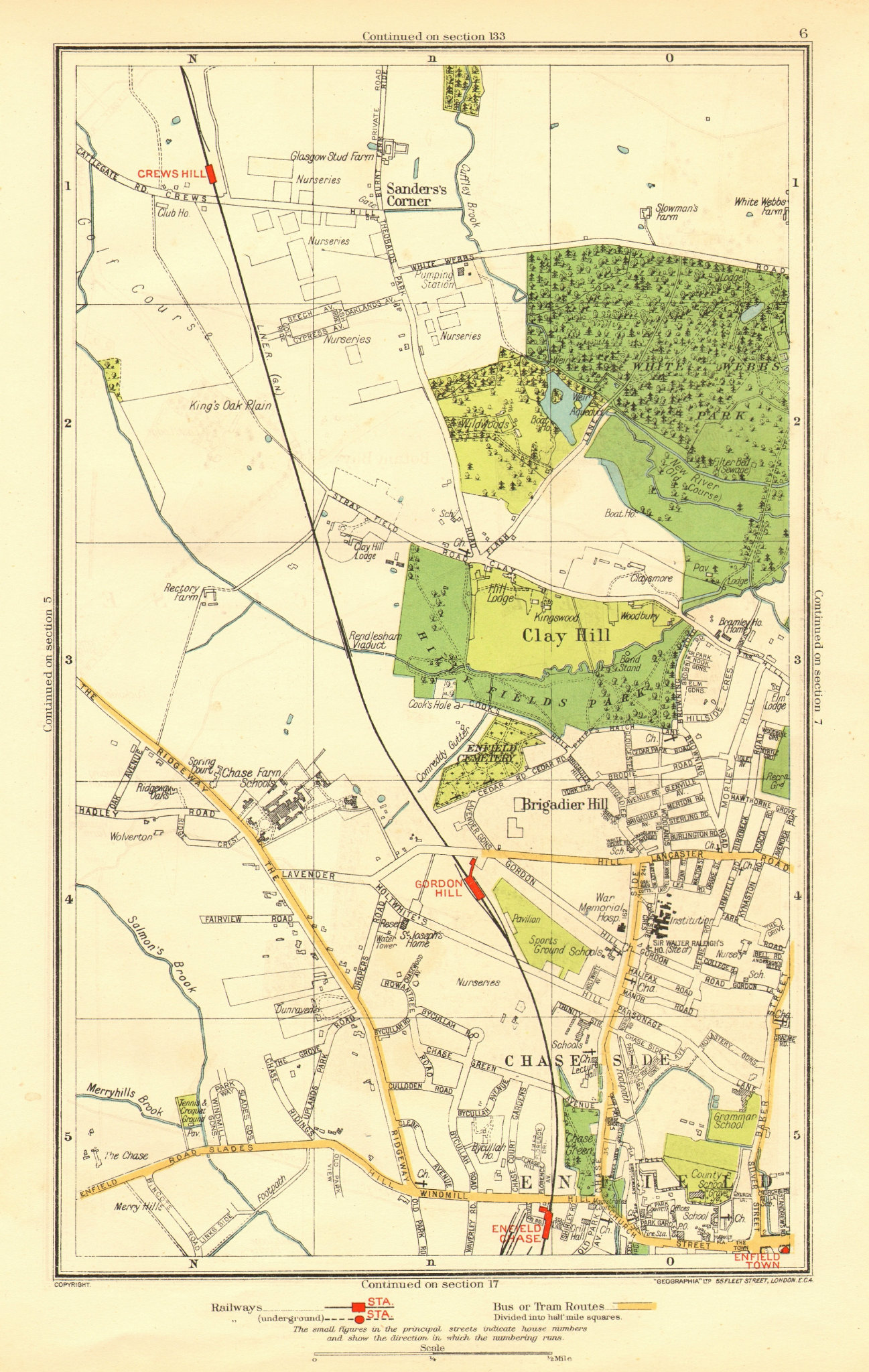 Associate Product ENFIELD. Clay Hill Chase Side Gordon Hill Crews Hill Brigadier Hill 1937 map
