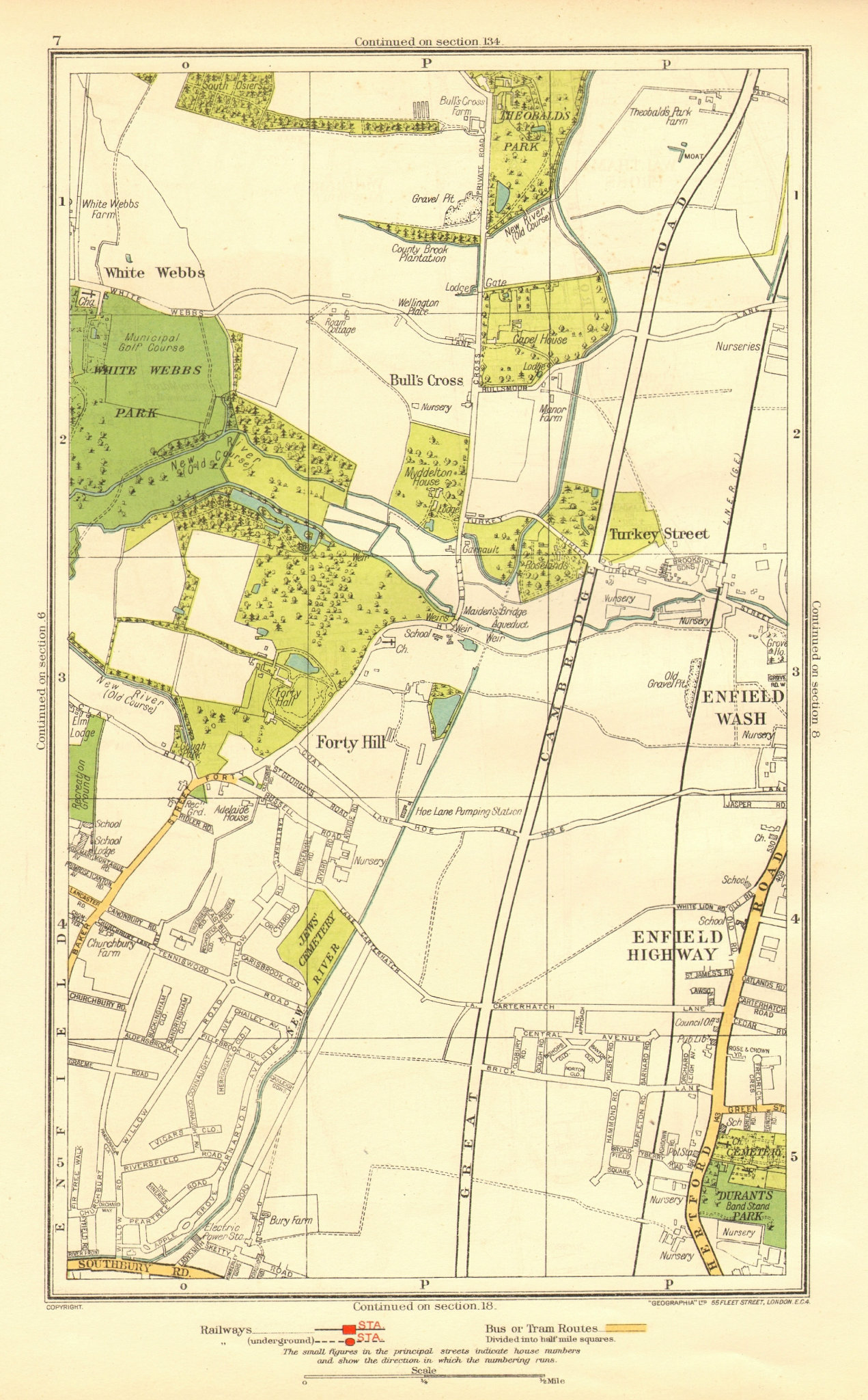 Associate Product ENFIELD. Bull's Cross Enfield Wash Forty Hill White Webbs Freezy Water 1937 map