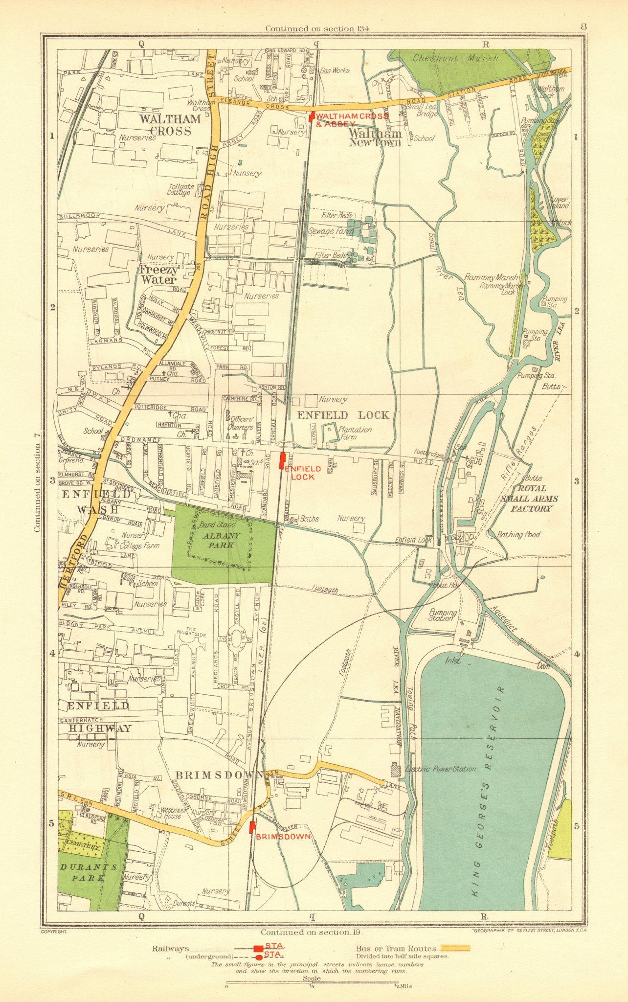 Associate Product ENFIELD. Lock Wash Highway; Waltham Cross Brimsdown Freezy Water 1937 old map