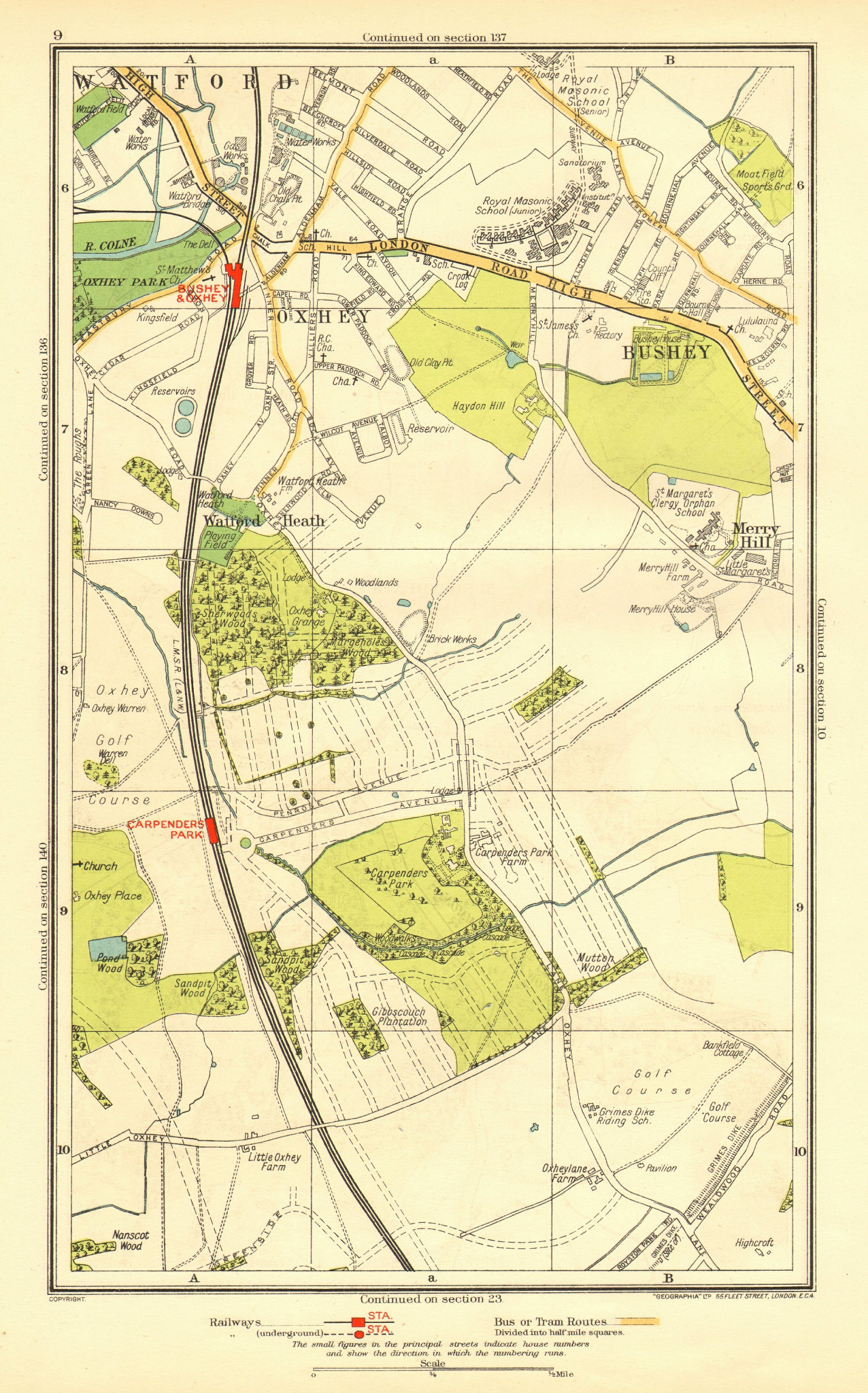 Associate Product OXHEY. Bushey Watford Carpender's Park Merry Hill 1937 old vintage map chart