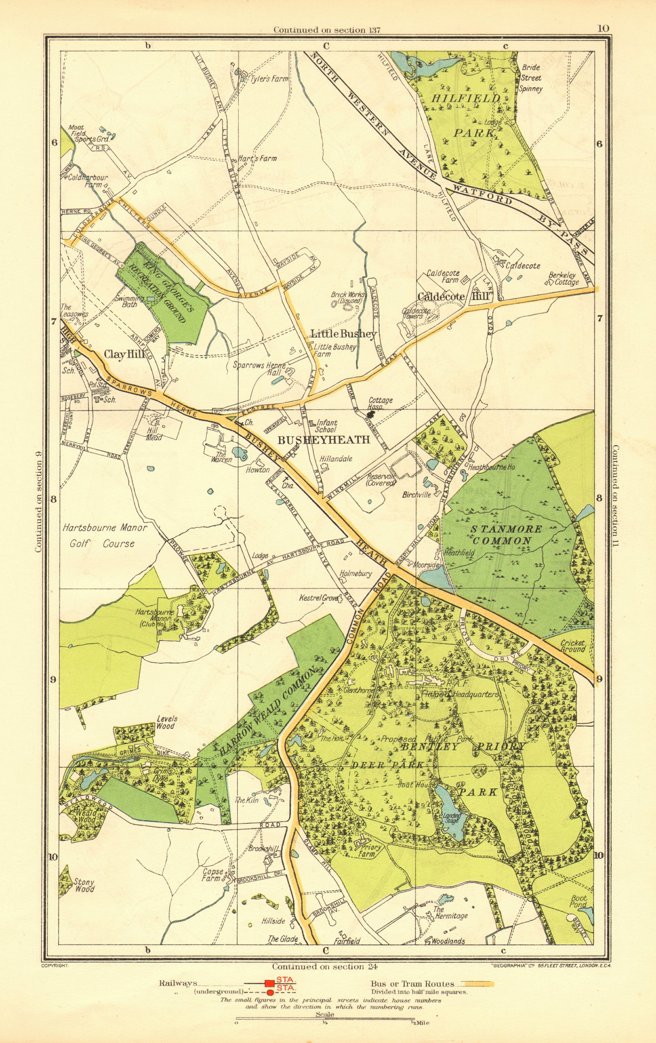 Associate Product HERTS. Busheyheath Caldecote Hill Clay Hill Little Bushey Stanmore Cmn 1937 map