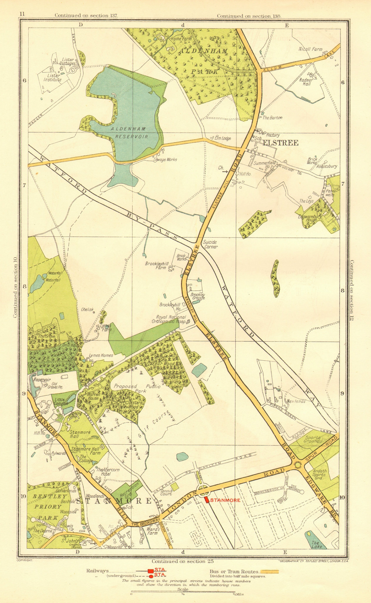 Associate Product HERTS. Elstree Stanmore Edgware Aldenham Park Canons Park 1937 old vintage map