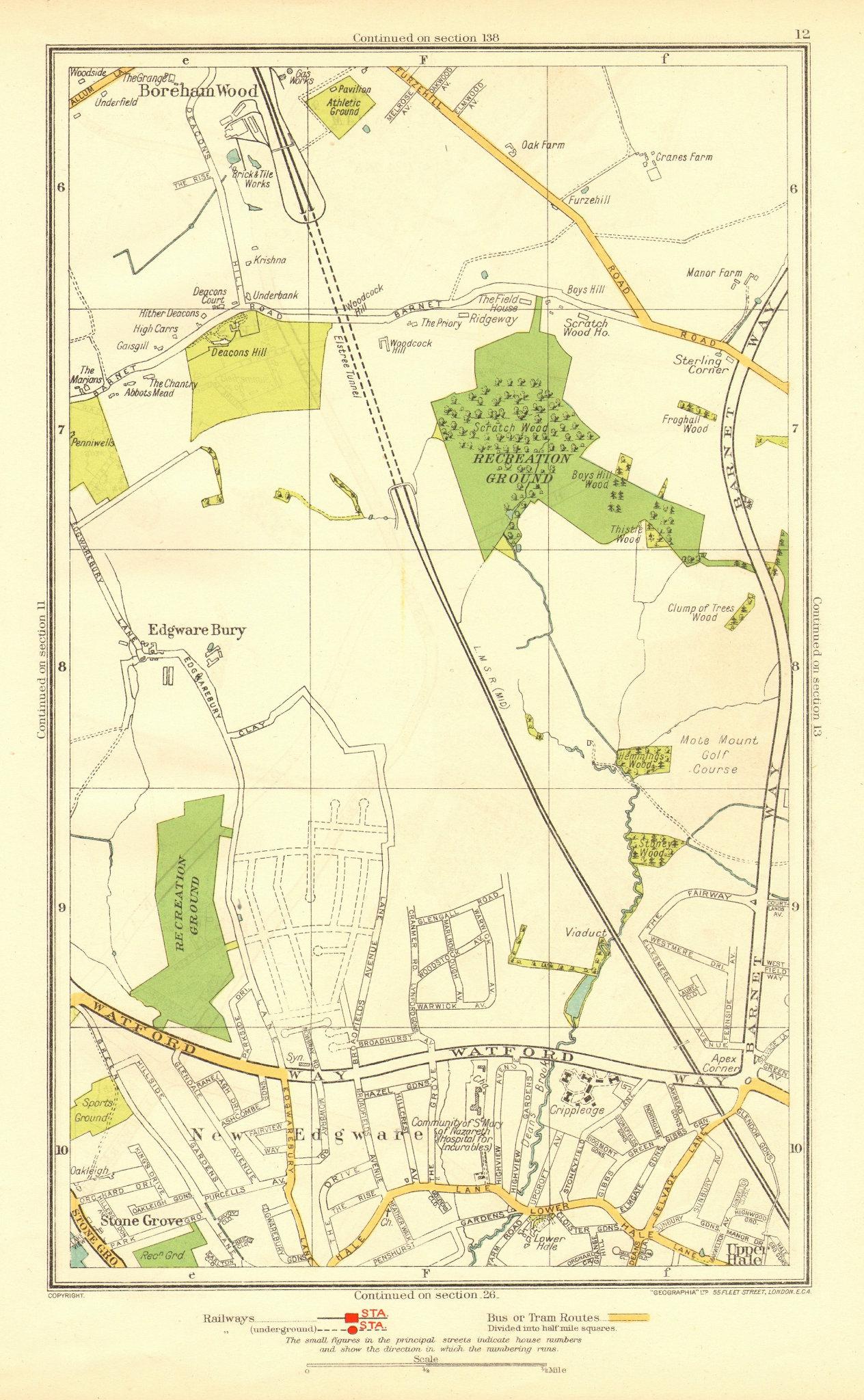 Associate Product LONDON. Edgware Bury New Edgware Stone Grove Upper Hale 1937 old vintage map