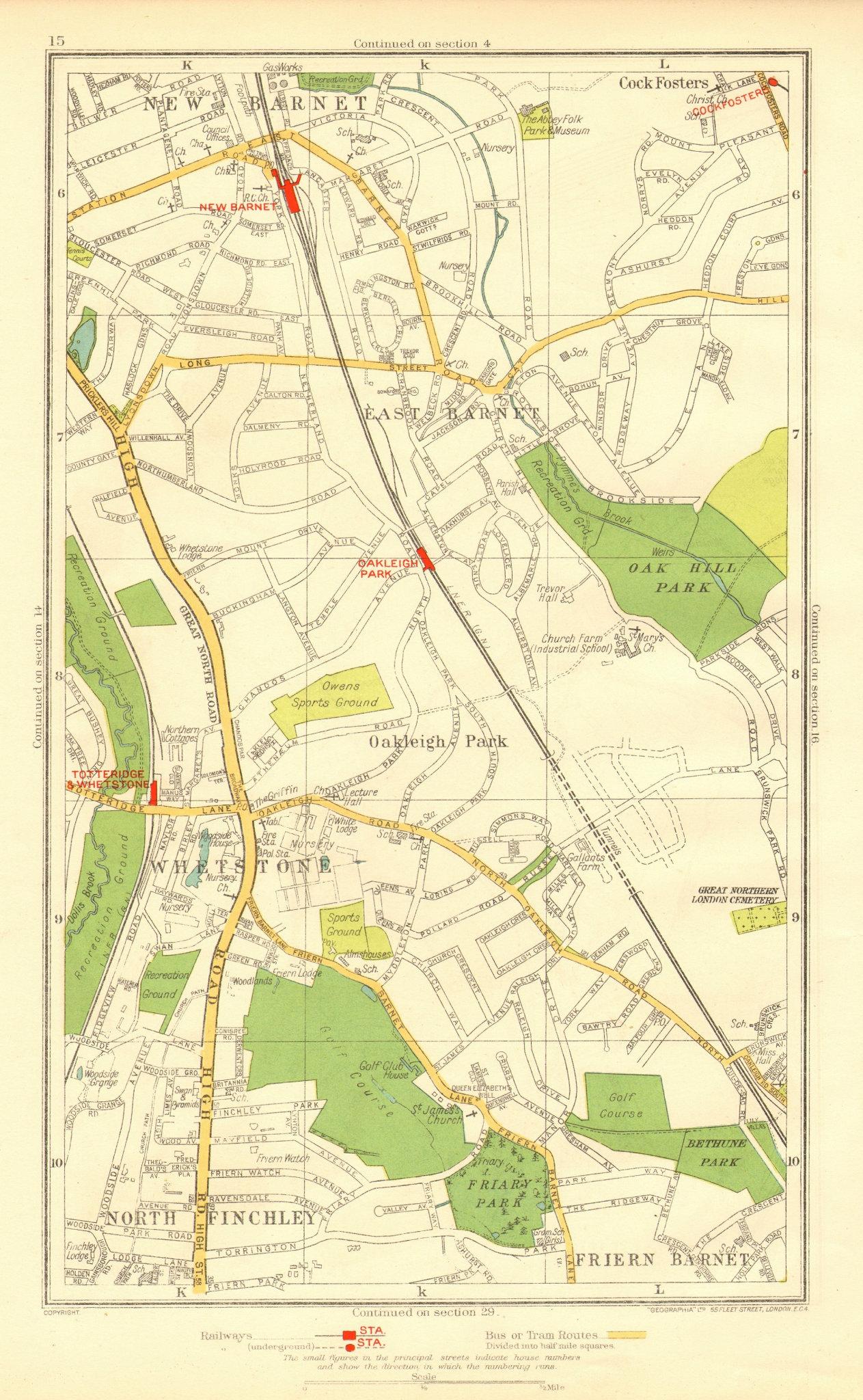 Associate Product EAST BARNET. Friern Barnet;Whetstone Finchley Cockfosters Totteridge 1937 map