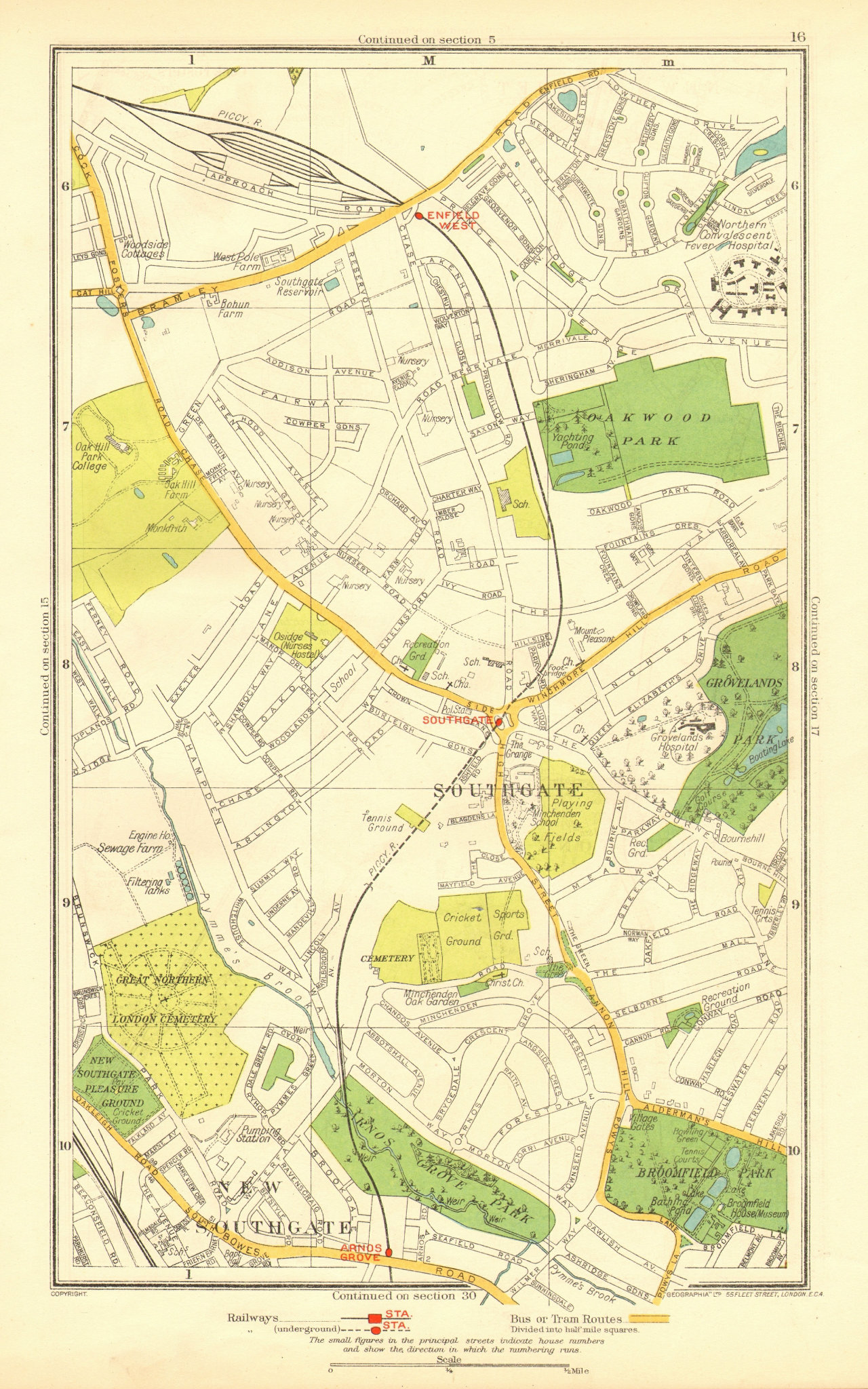 Associate Product LONDON. Southgate New Southgate Arnos Grove West Enfield 1937 old vintage map
