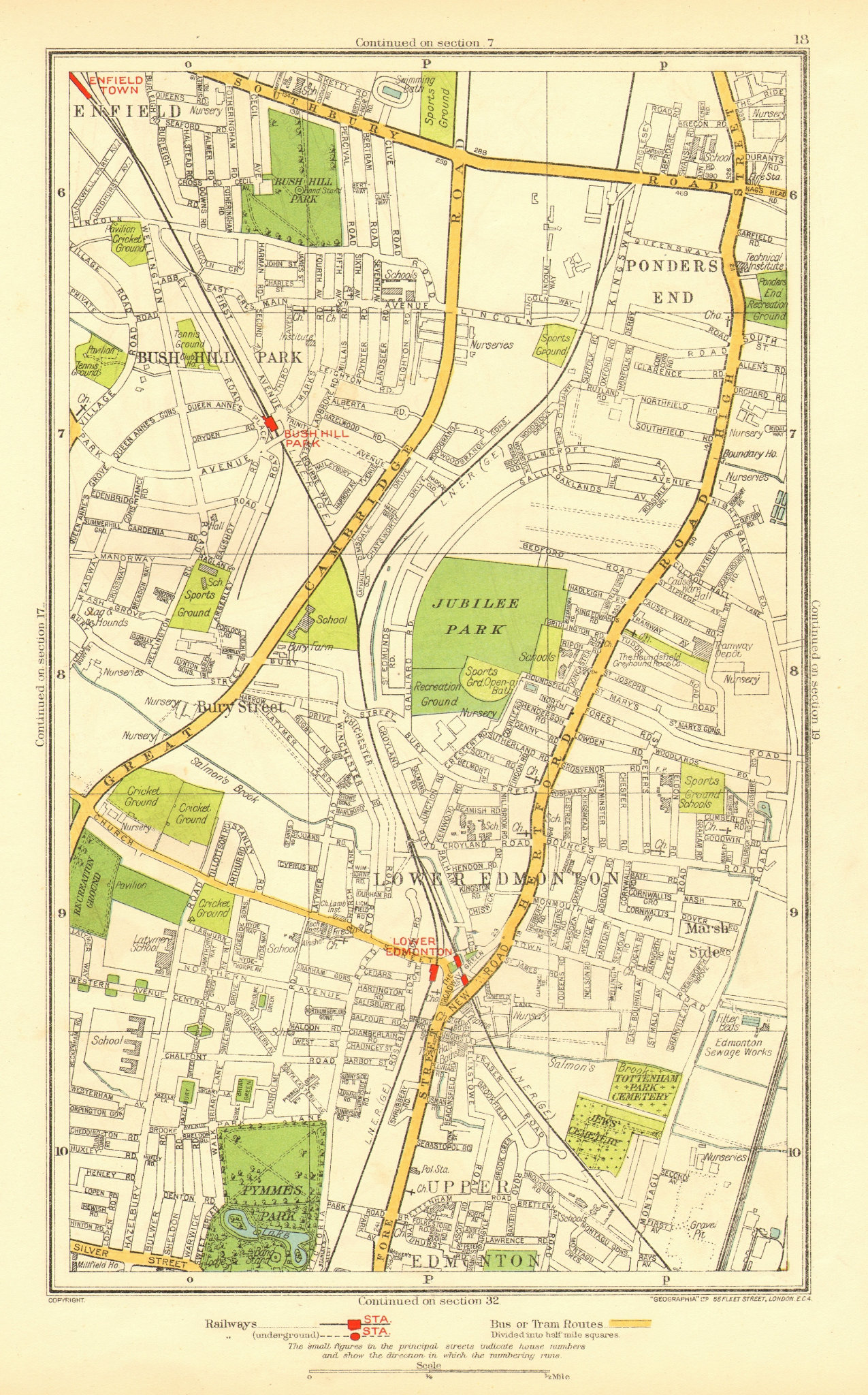 Associate Product EDMONTON. Bush Hill Park Ponders End Enfield Town Bury Street 1937 old map