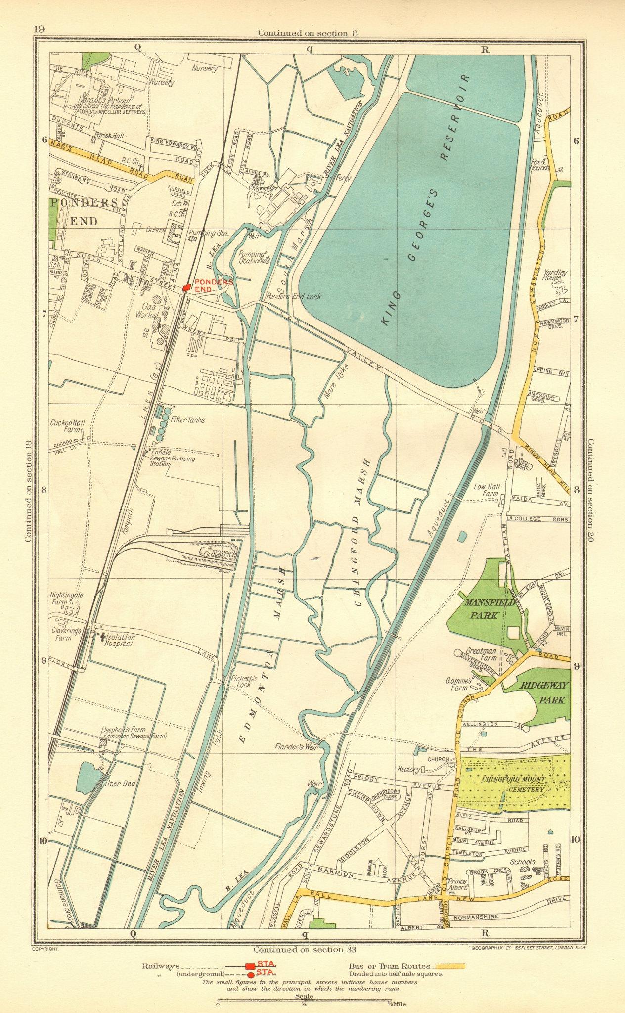 Associate Product LONDON. Ponders End Chingford Marsh Edmonton Marsh 1937 old vintage map chart