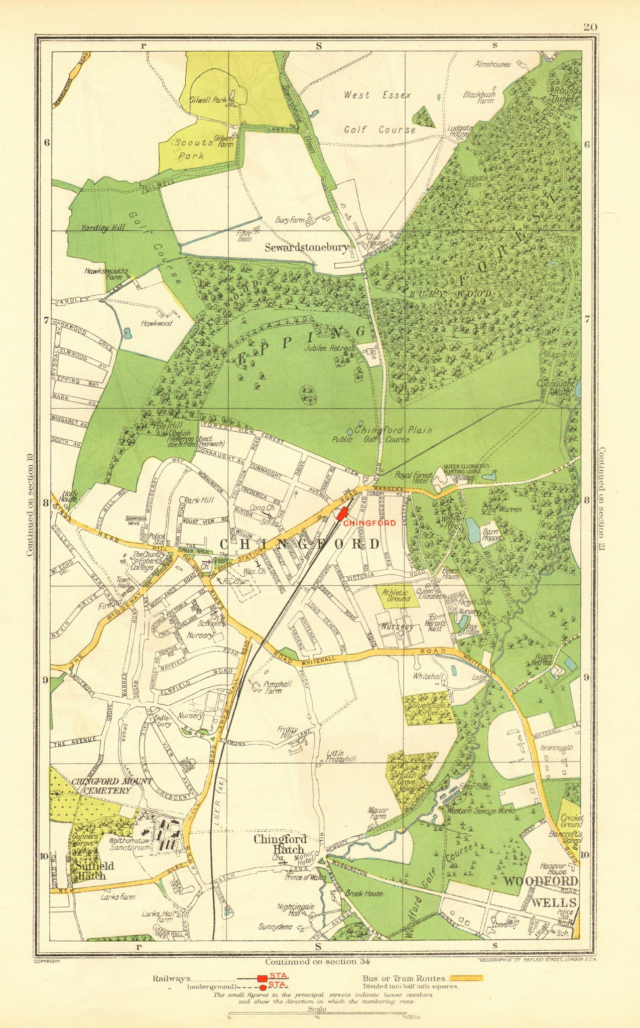 Associate Product CHINGFORD. Woodford Wells Epping Forest Sewardstonebury Suffield Hatch 1937 map