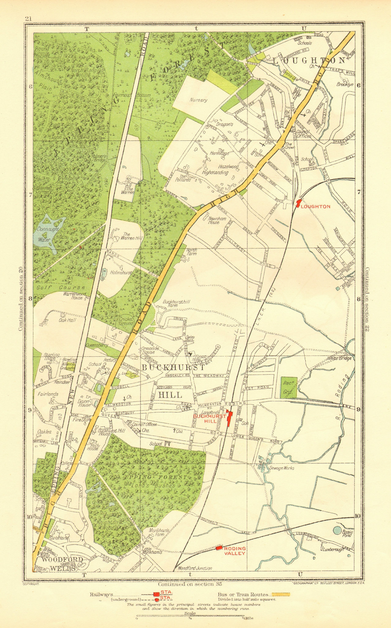 Associate Product ESSEX. Buckhurst Hill Loughton Woodford Wells Roding Valley 1937 old map