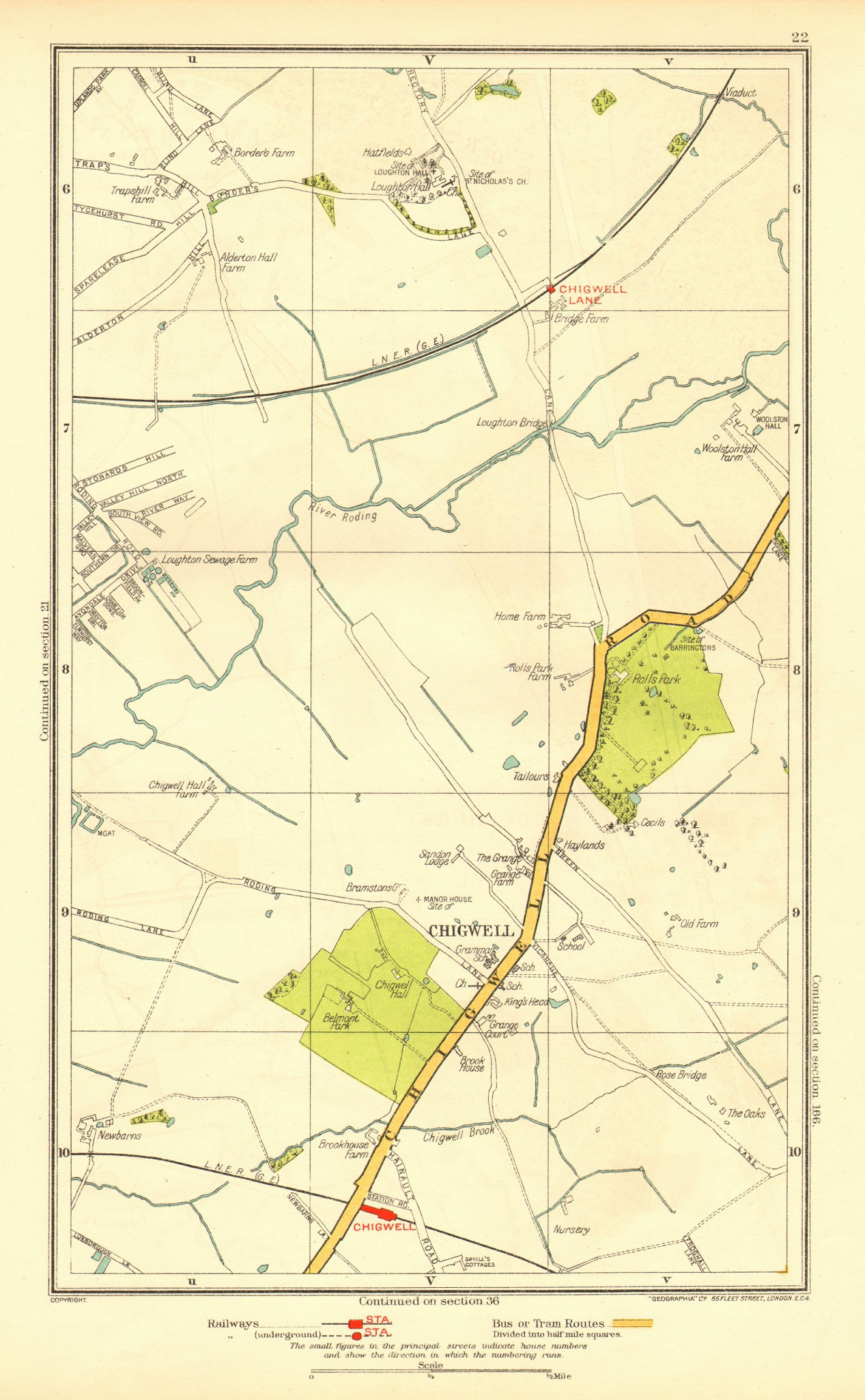 Associate Product ESSEX. Chigwell Loughton Debden Patch Park River Roding 1937 old vintage map