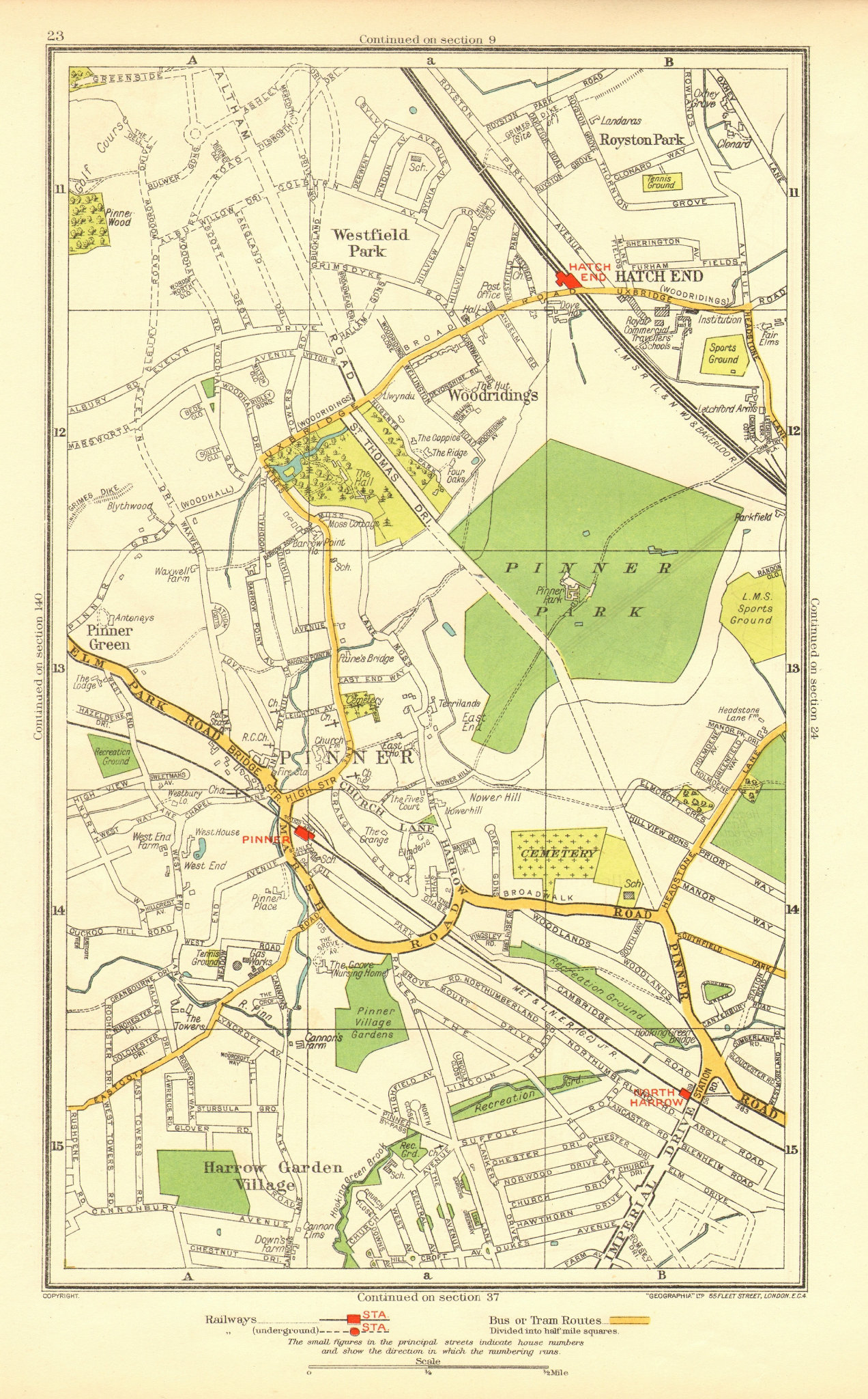 Associate Product PINNER. Hatch End North Harrow Eastcote Royston Park Westfield Park 1937 map