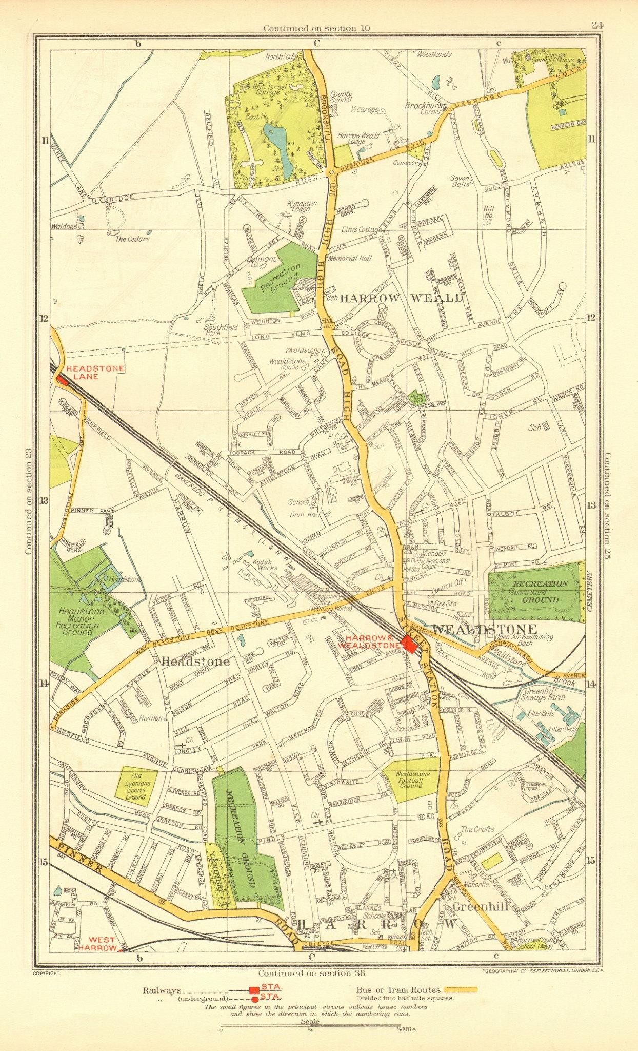 HARROW. Stanmore Wealdstone Greenhill Weald Headstone Lane 1937 old map
