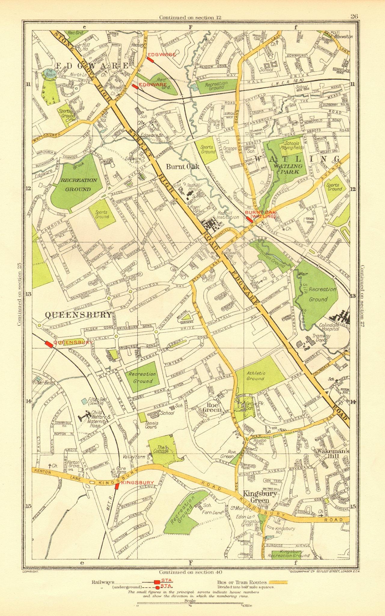 Associate Product EDGWARE. Burnt Oak Kingsbury Green Queensbury Stanmore Watling Roe Grn 1937 map