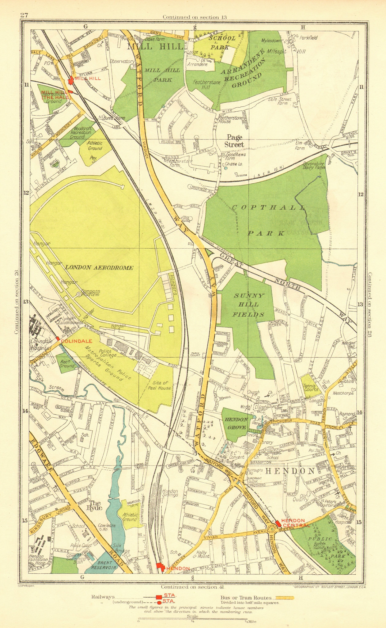 Associate Product HENDON. The Hyde Mill Hill Colindale Edgware Southfields 1937 old vintage map