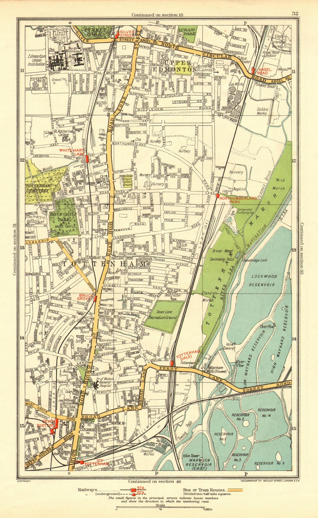 Associate Product TOTTENHAM. Upper Edmonton White Hart Lane Seven Sisters Angel Road 1937 map