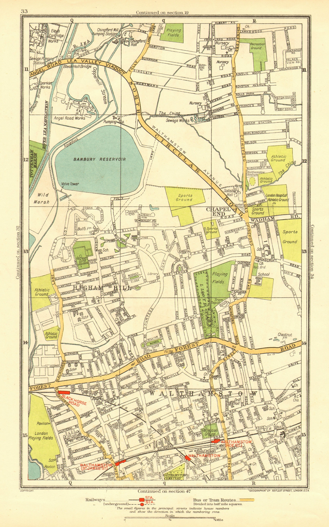 Associate Product LONDON. Chapel End Higham Hill Walthamstow Black Horse Road 1937 old map