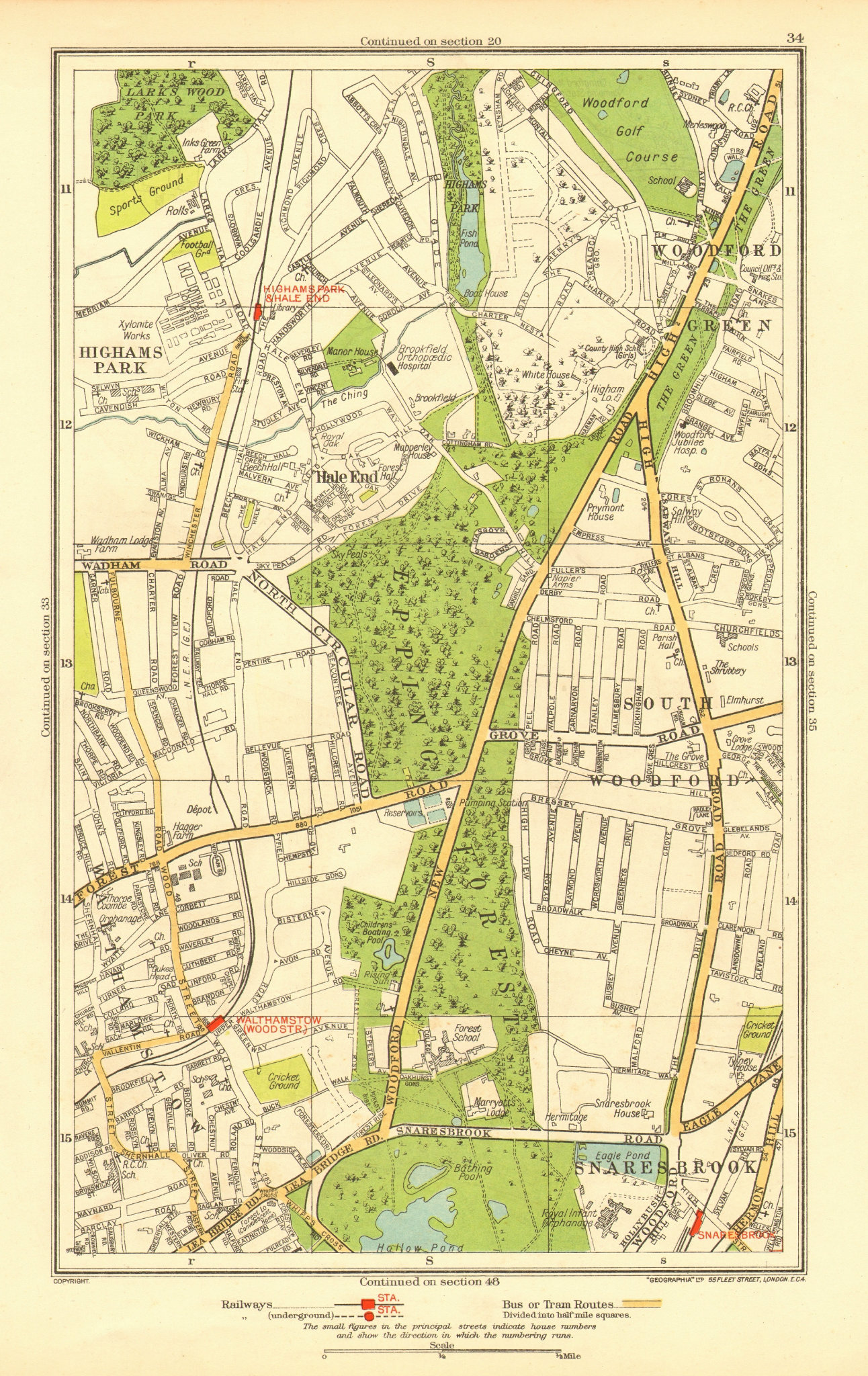 Associate Product WOODFORD GREEN. Hale End Highams Park Snaresbrook Wanstead 1937 old map