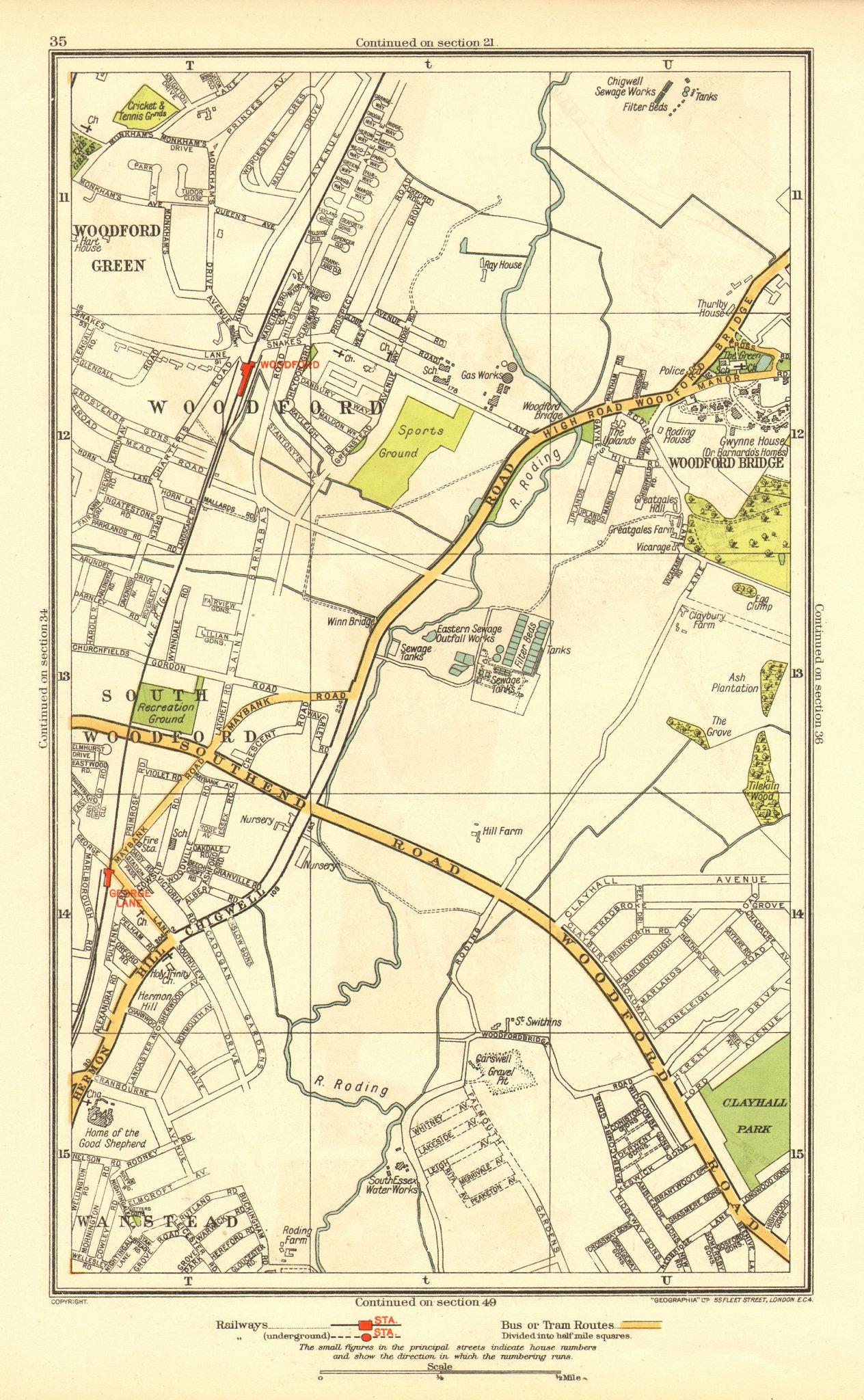 Associate Product LONDON. South Woodford Woodfood Bridge Wanstead Redbridge Ilford 1937 old map