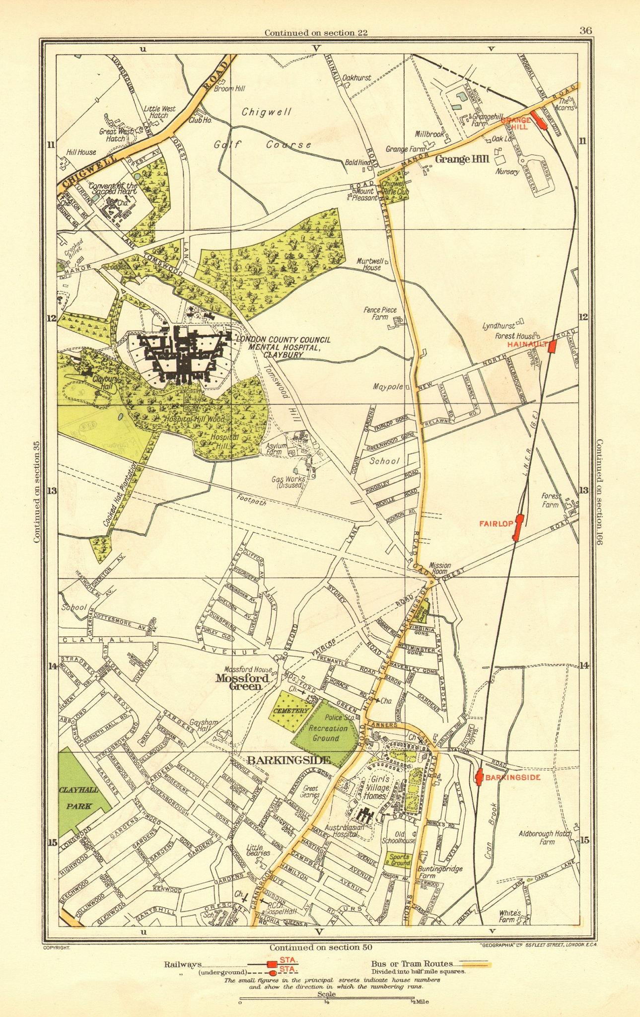 Associate Product LONDON. Barkingside Grange Hill Mossford Green Fairlop 1937 old vintage map