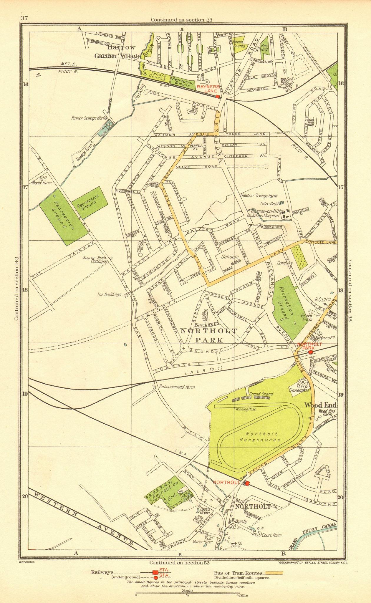 Associate Product NORTHOLT. South Ruislip Harrow Rayner's Lane Wood End Northolt Park 1937 map