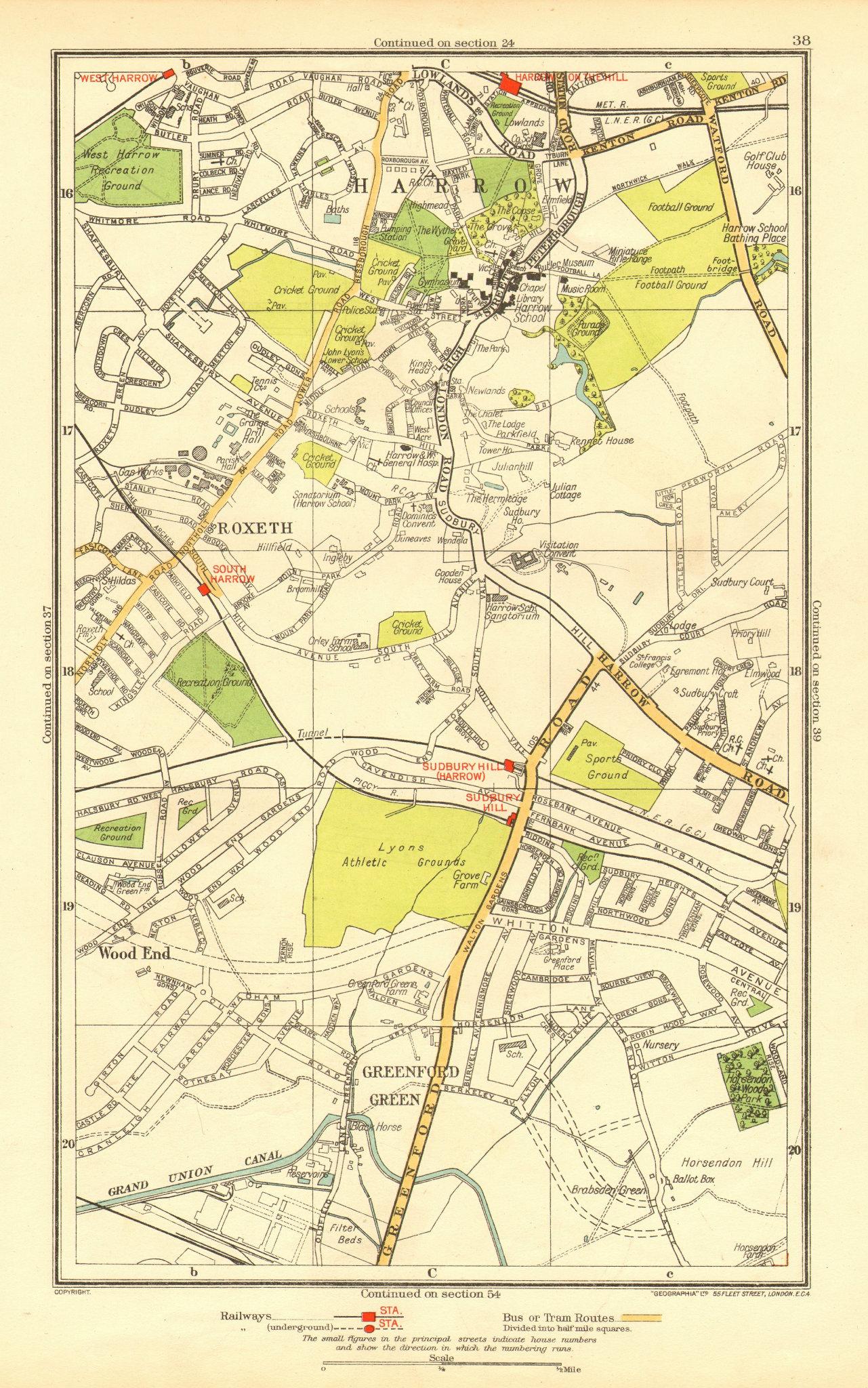 Associate Product LONDON. Greenford Green Harrow Harrow on the Hill Roxeth Sudbury Hill 1937 map