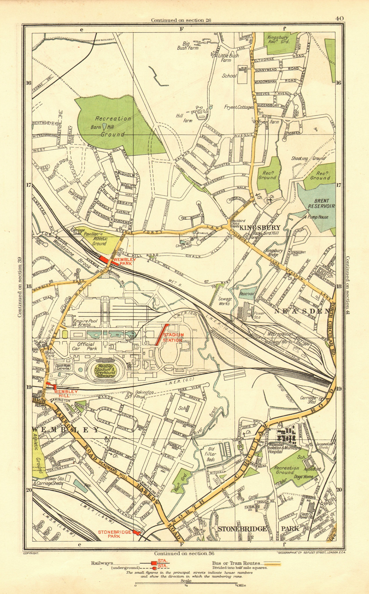 Associate Product WEMBLEY. Kingsbury Neasden Church End British Empire Exhibition 1937 old map