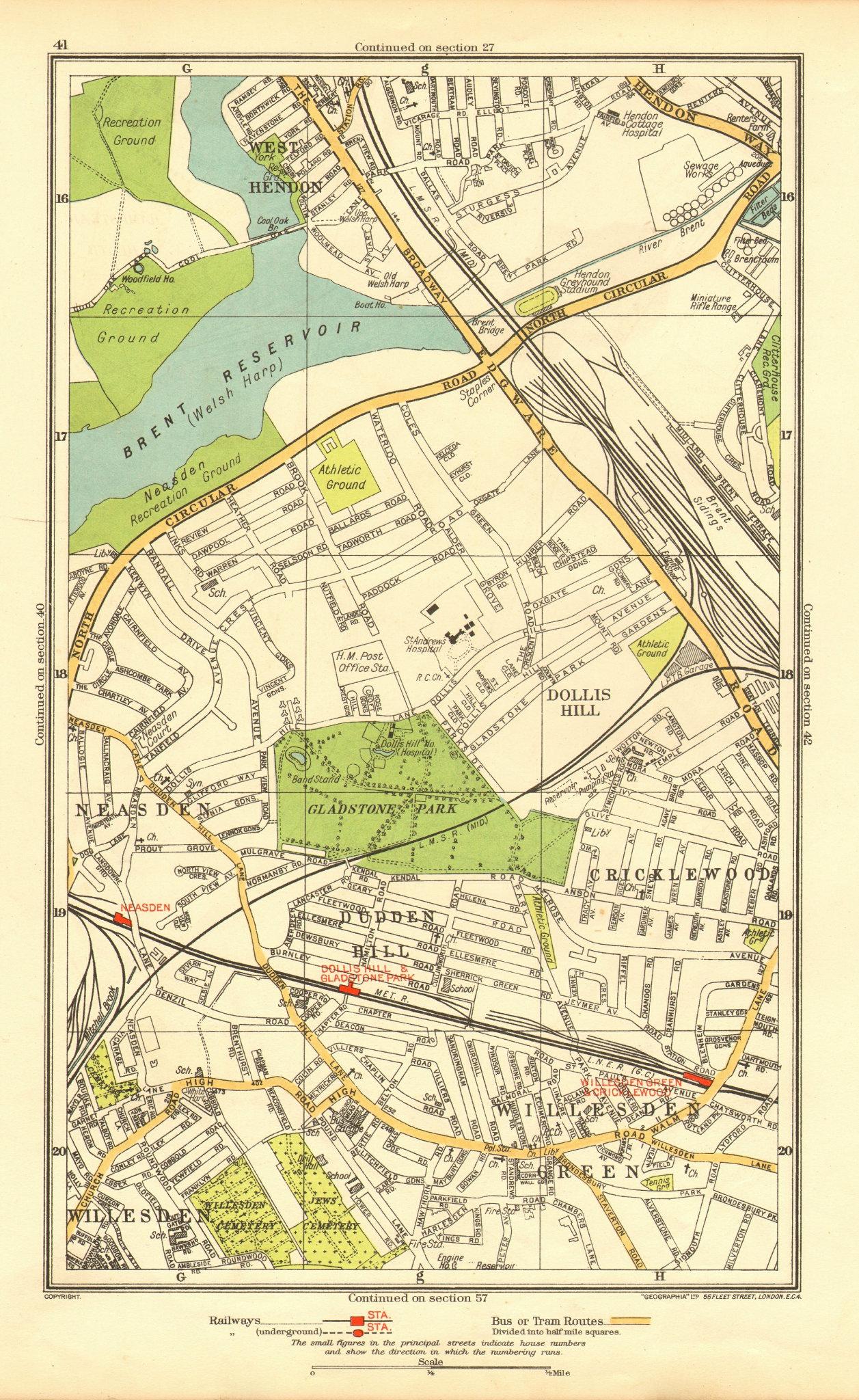 Associate Product WILLESDEN GREEN. Cricklewood Dollis Hill Neasden Cricklewood Hendon 1937 map