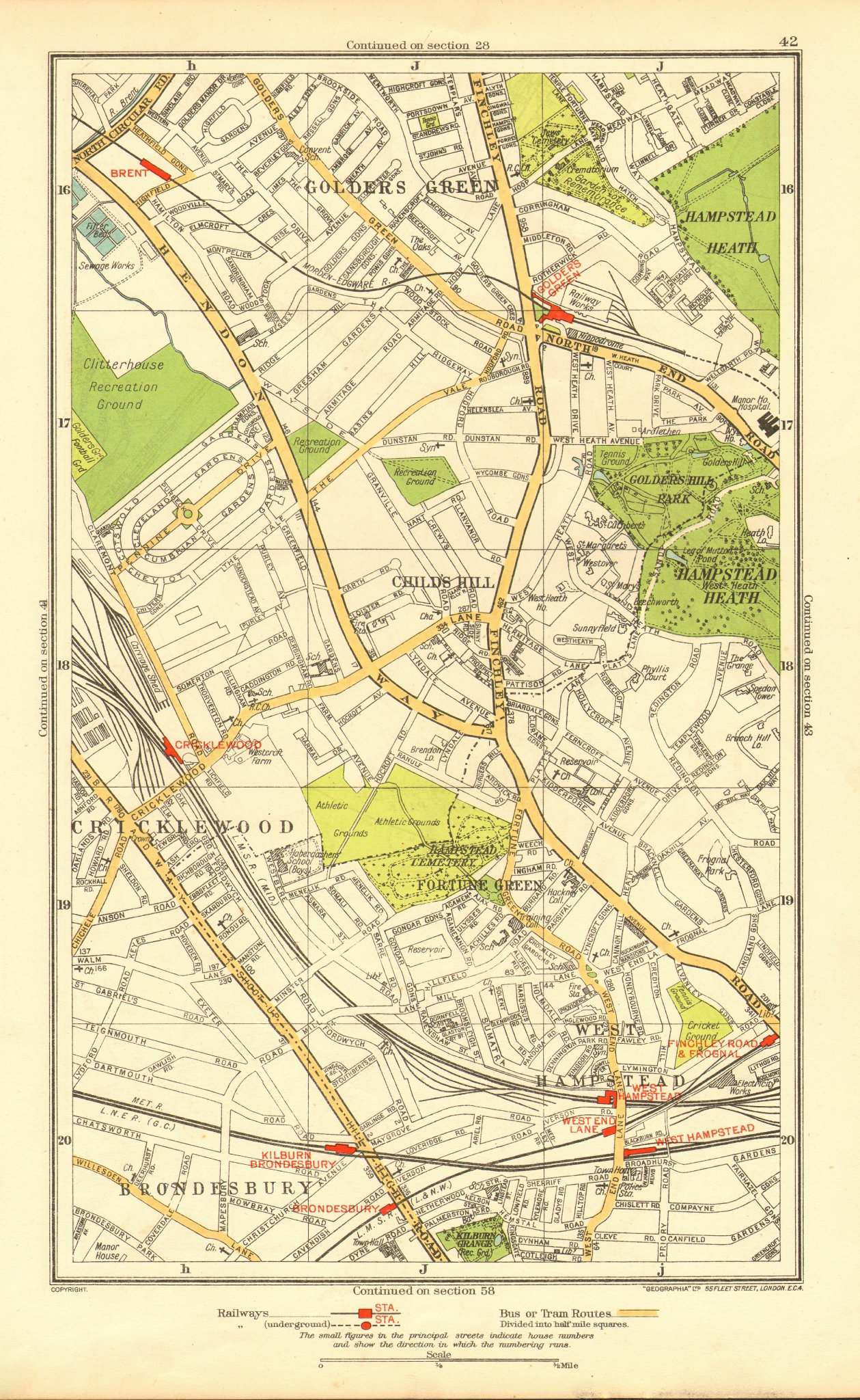 CRICKLEWOOD. Brondesbury Fortune/Golders Green Hampstead Child's Hill 1937 map