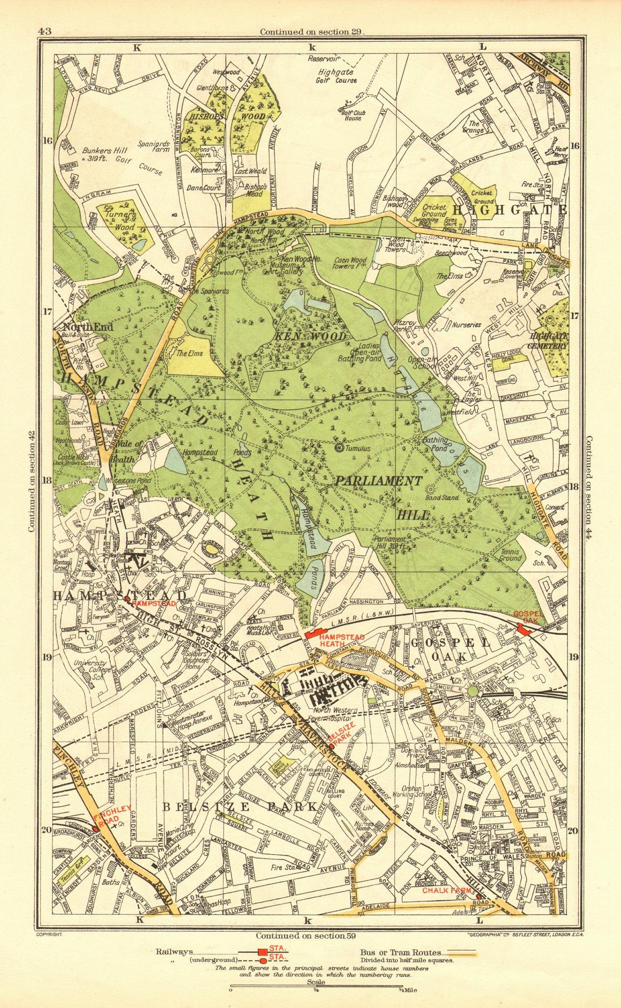 Associate Product HAMPSTEAD. Belsize Park Gospel Oak Highgate Gospel Oak Parliament Hill 1937 map
