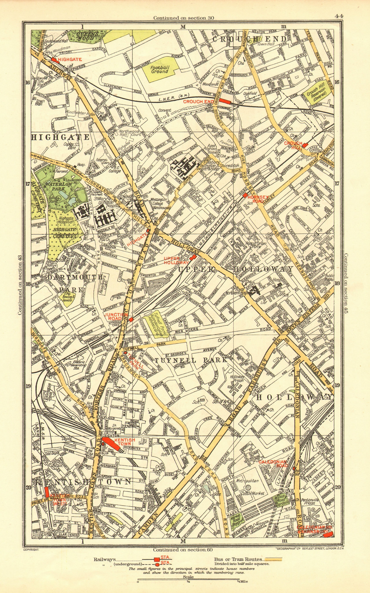 Associate Product HOLLOWAY. Crouch End Tufnell Park Highgate Kentish Town Dartmouth Park 1937 map