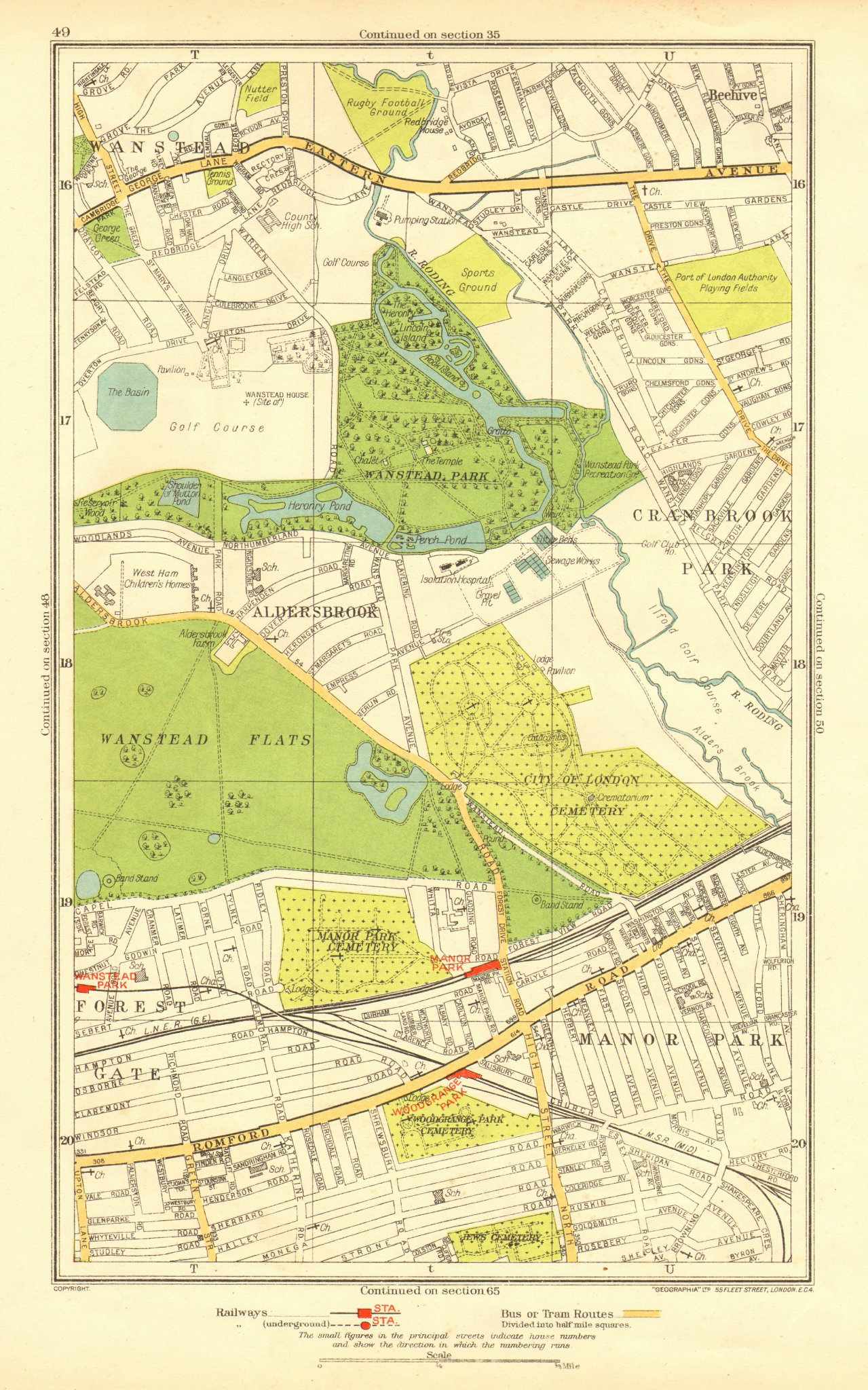 Associate Product LONDON. Aldersbrook Manor Park Stoke Newington Beehive Newbury Park 1937 map
