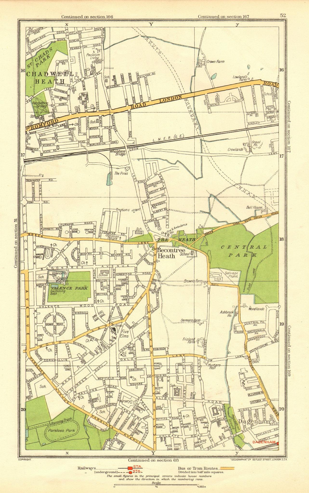 Associate Product ROMFORD. Chadwell Heath Becontree Dagenham Valence Park 1937 old vintage map