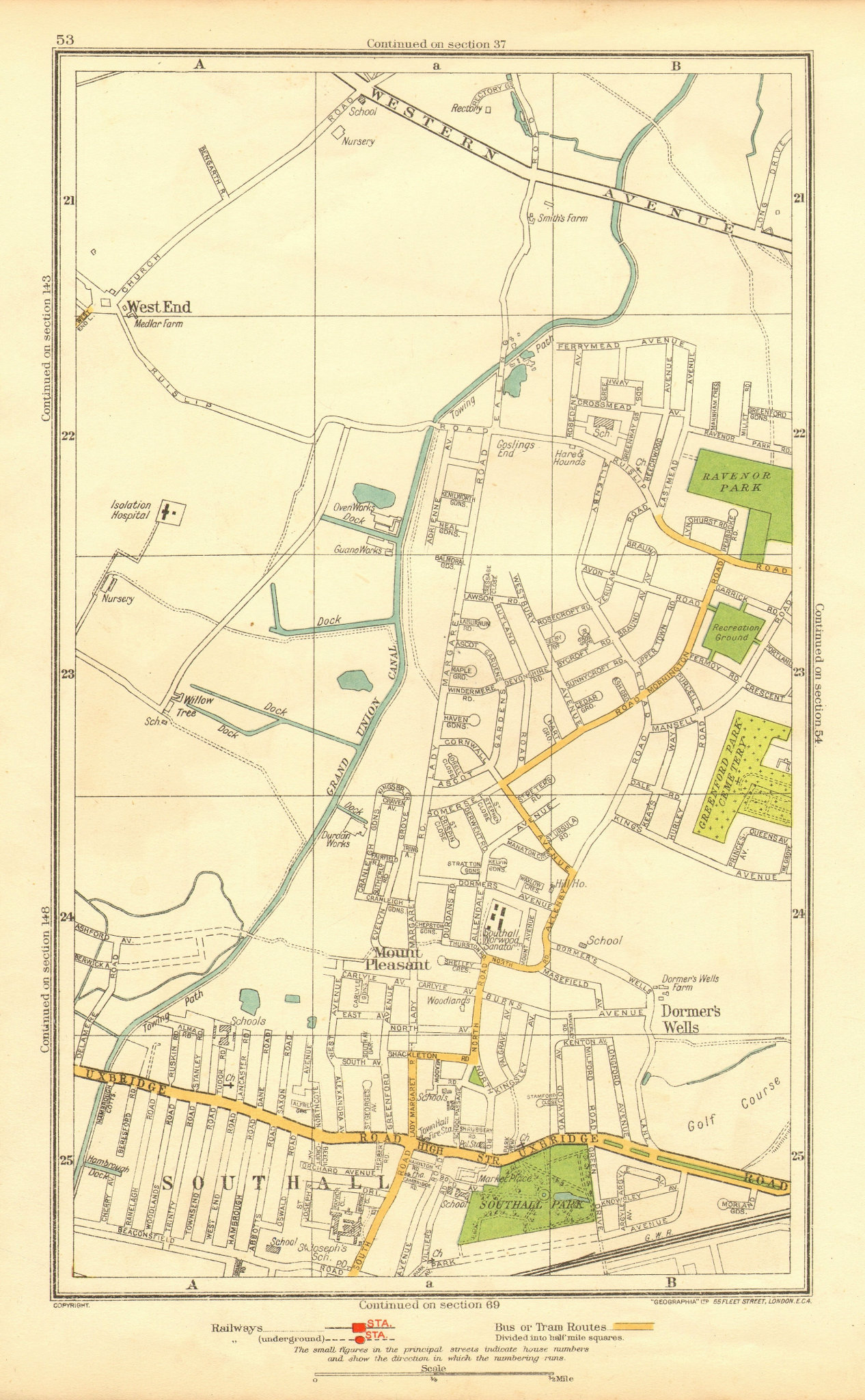 Associate Product MIDDLESEX. Dormer's Wells Mount Pleasant Southall West End 1937 old map