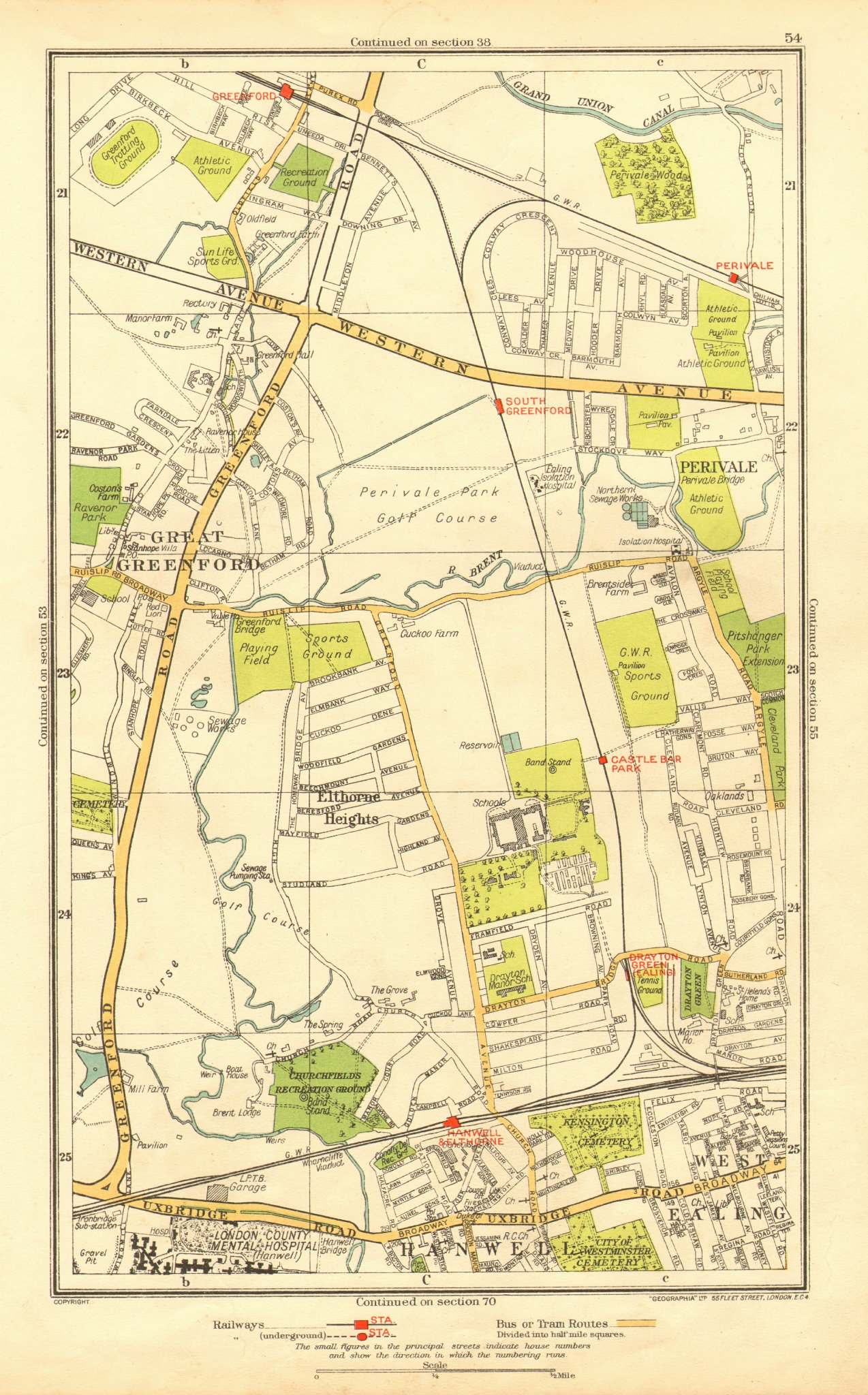 Associate Product GREENFORD. Perivale West Ealing Hanwell Elthorne Heights Drayton Green 1937 map