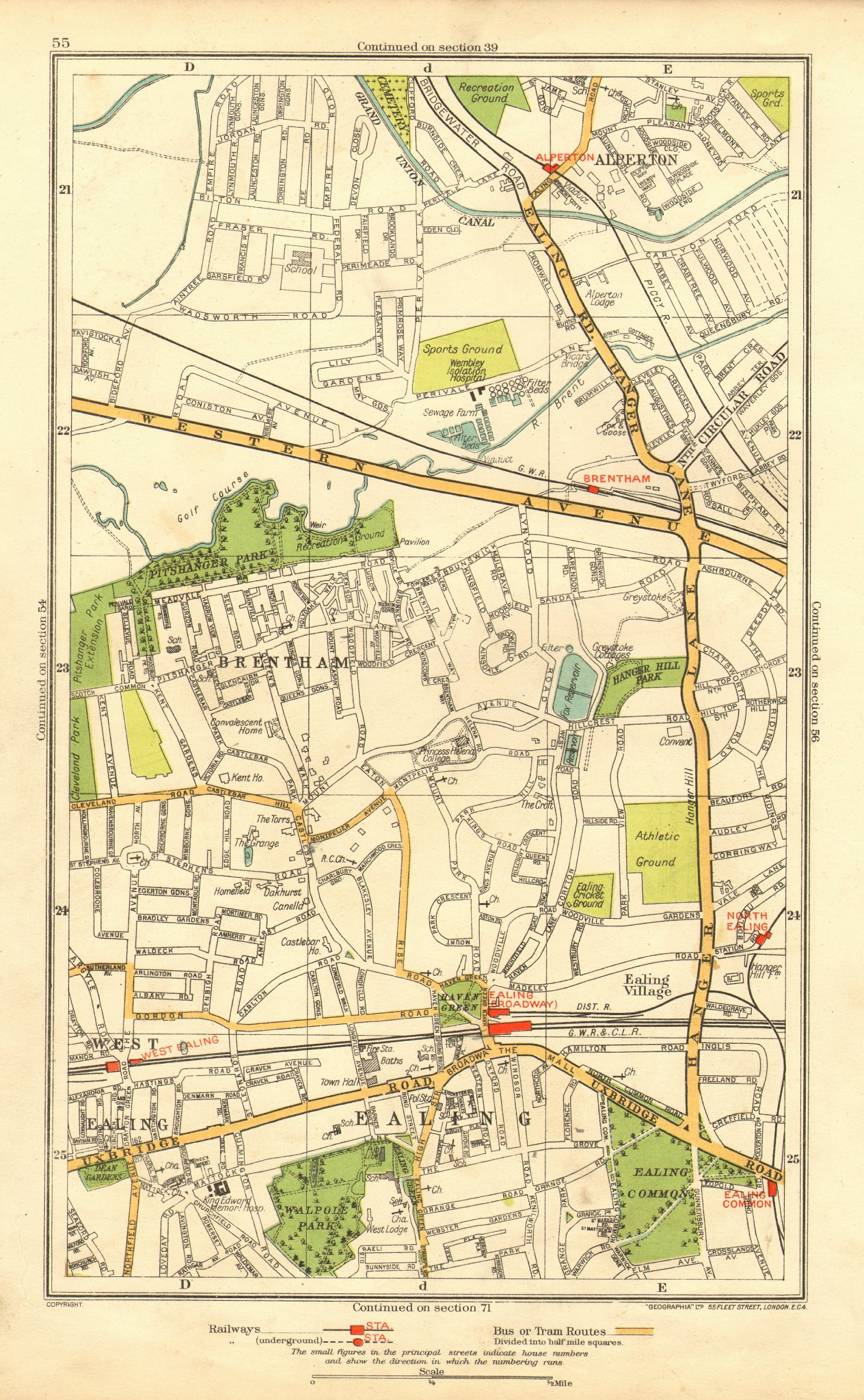 Associate Product LONDON. Alperton Brentham North West Ealing Common Broadway Park Royal 1937 map