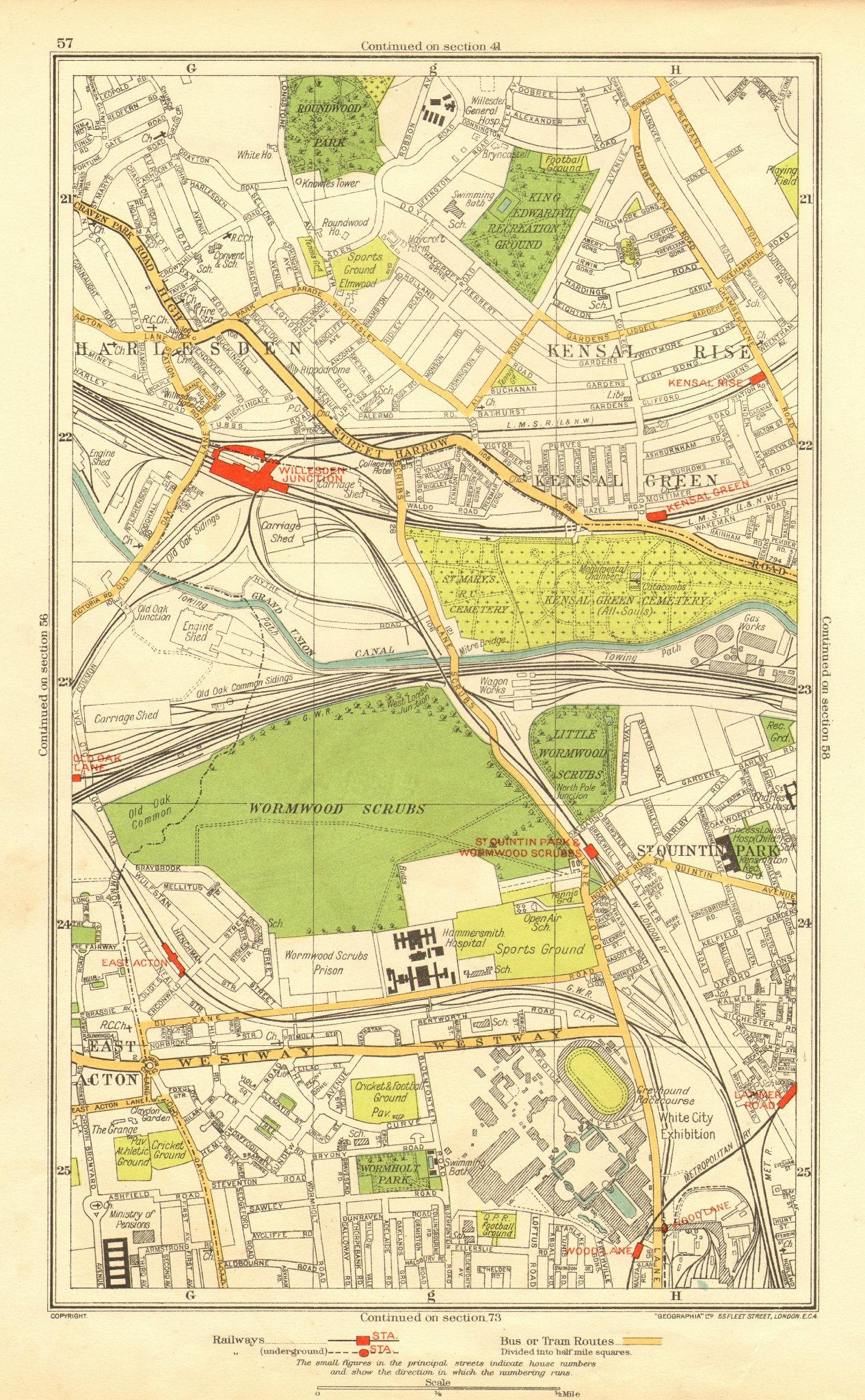 Associate Product KENSAL. Green/Rise; Acton Harlesden Shepherd's Bush Brondesbury Park 1937 map