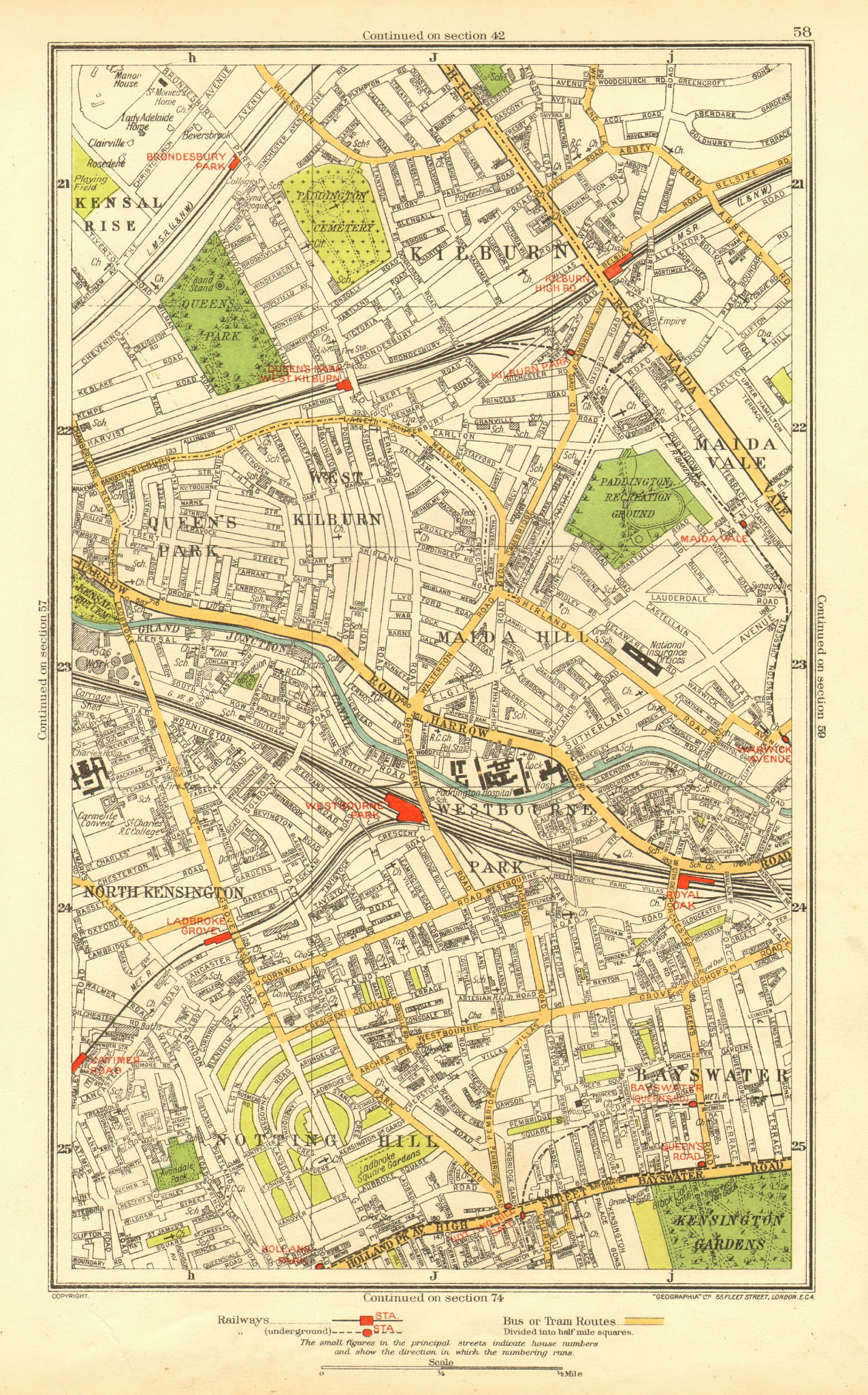 Associate Product NOTTING HILL. Bayswater Kilburn Maida Vale Westbourne Park Queens Park 1937 map