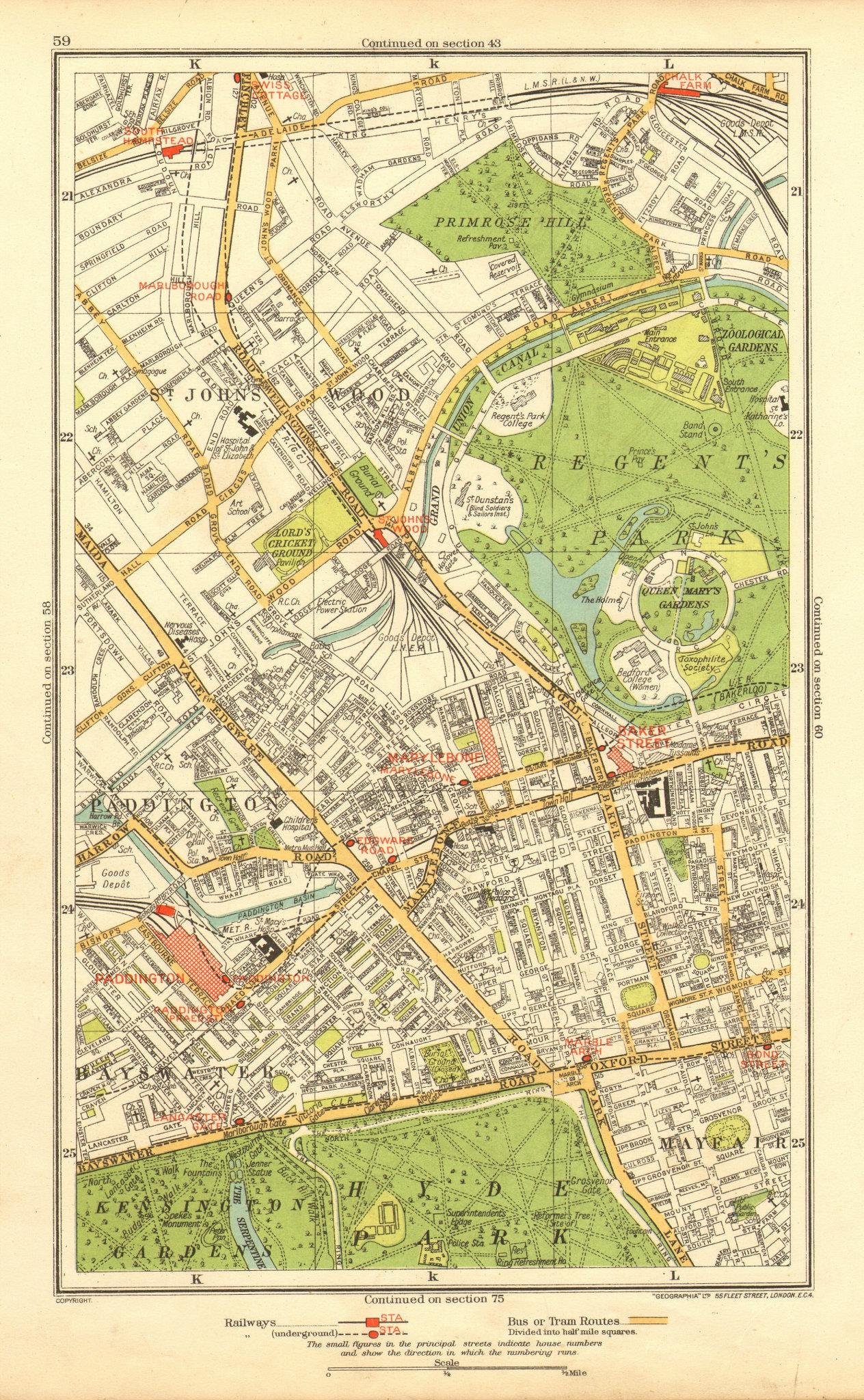 Associate Product LONDON. Paddington St John's Wood Marylebone Chalk Farm Swiss Cottage 1937 map