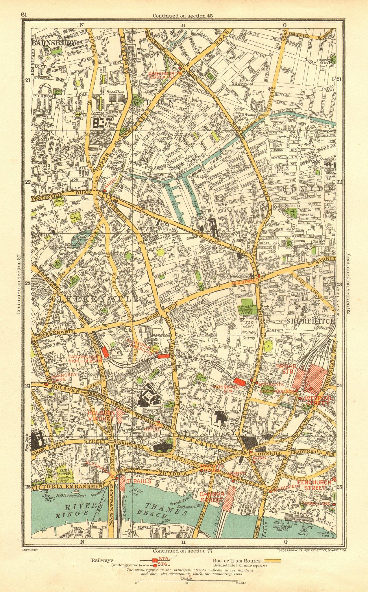 Associate Product LONDON. Barnsbury Clerkenwell Hoxton Islington Old Street Angel 1937 map