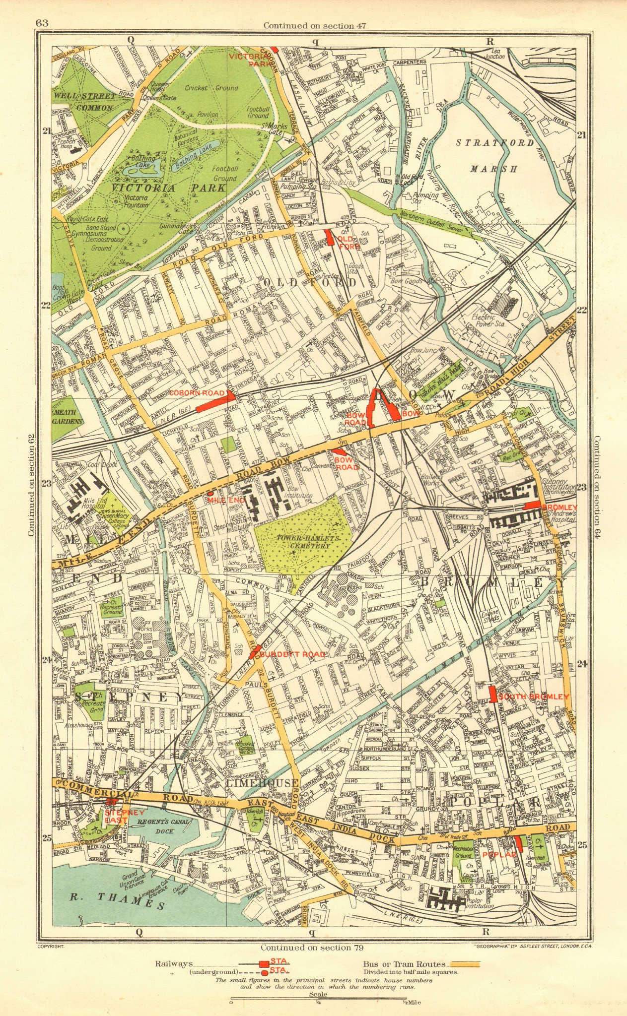 Associate Product EAST END. Bow Bromley Limehouse Old Ford Poplar Victoria Park Stepney 1937 map