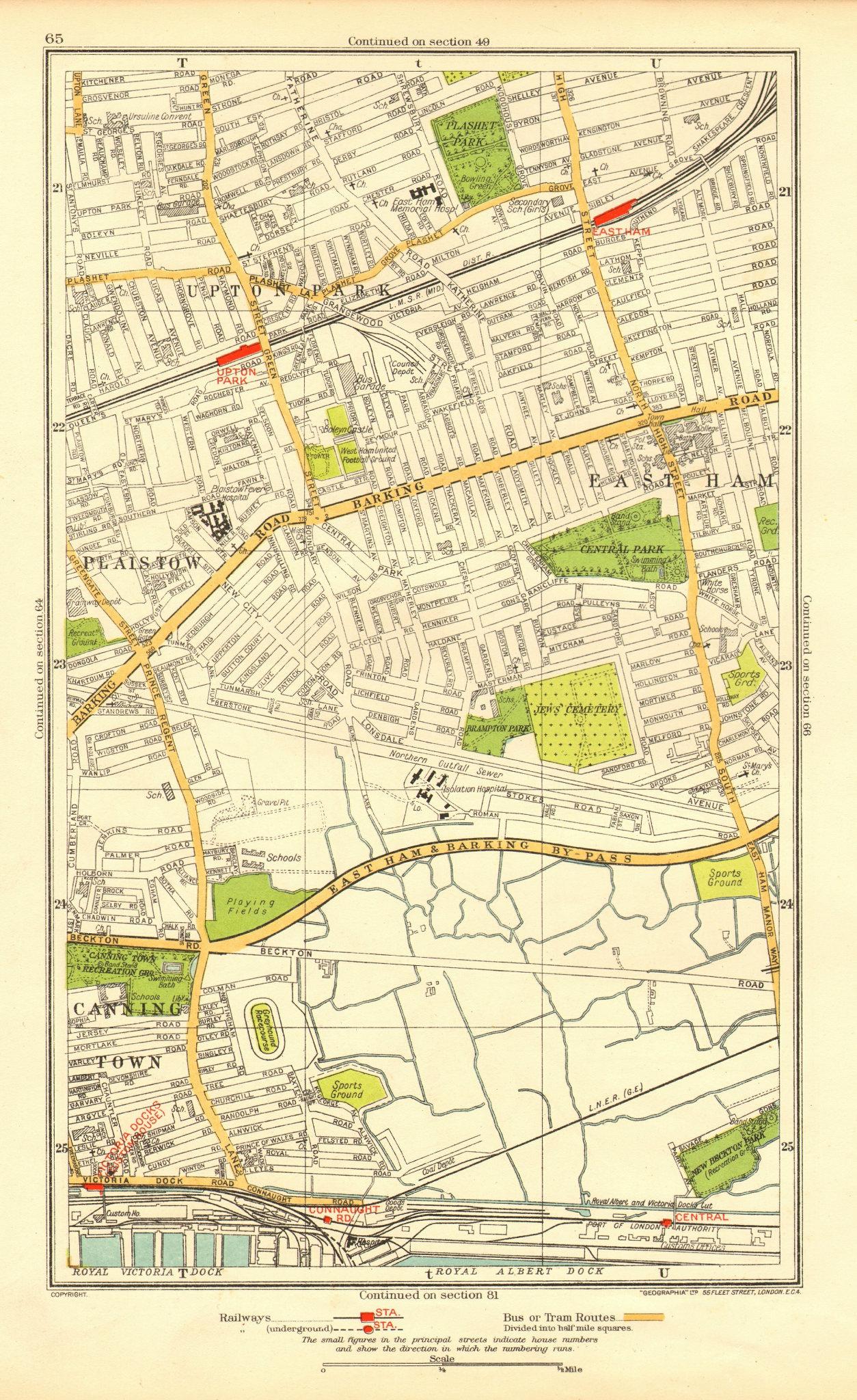 Associate Product LONDON. East Ham Plaistow Upton Park West Ham Custom House 1937 old map