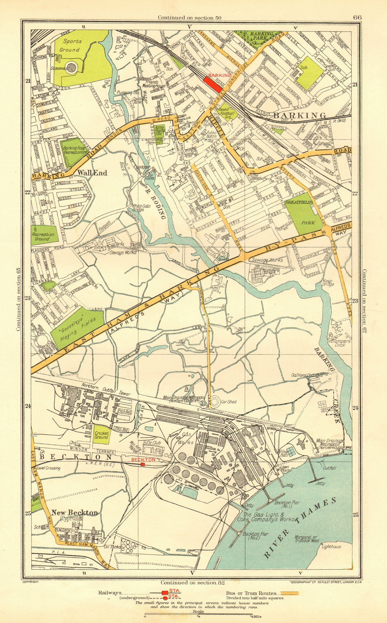 Associate Product LONDON. Barking Beckton Cyprus New Beckton Wall End 1937 old vintage map chart