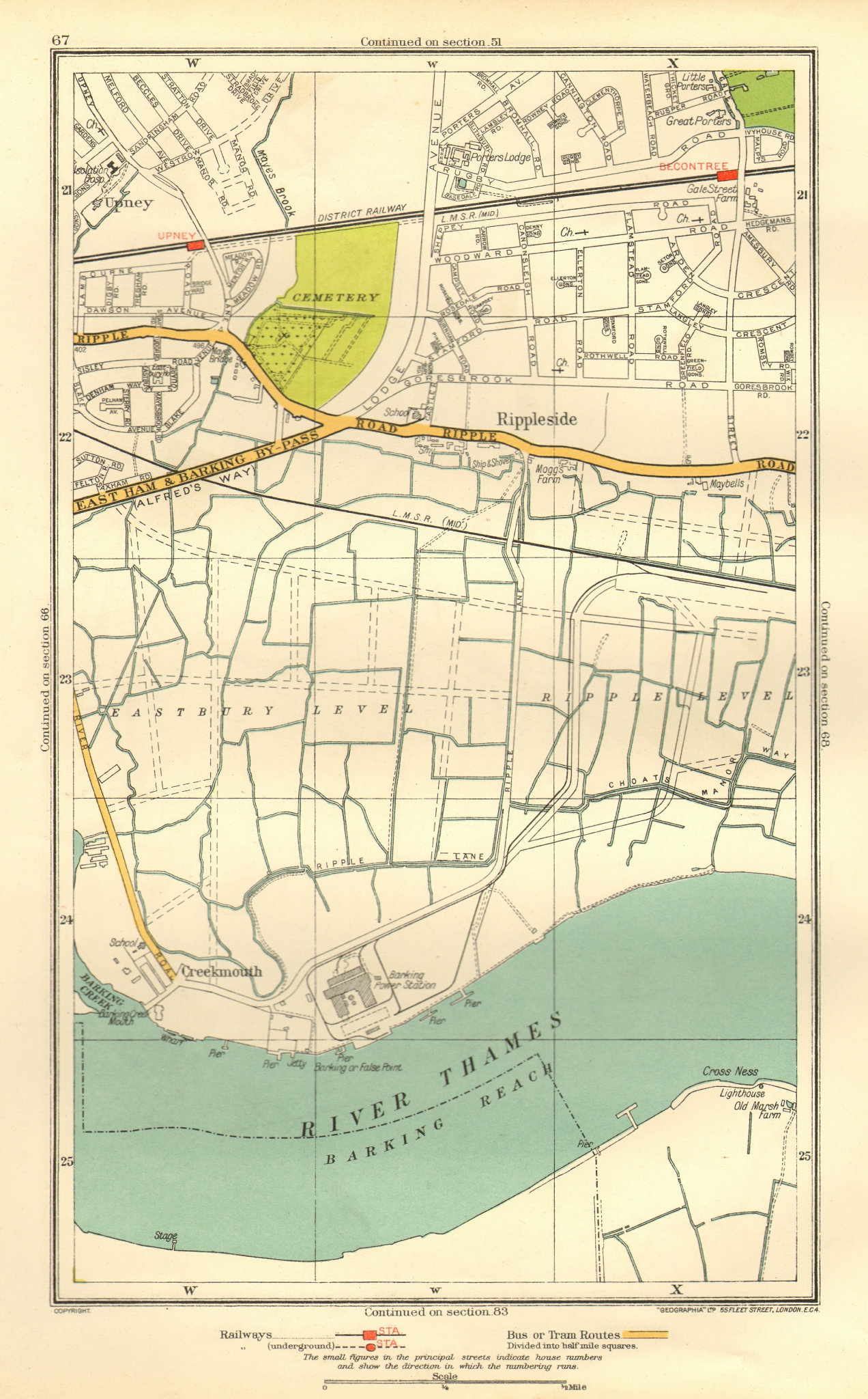 Associate Product LONDON. Creekmouth Rippleside Upney Becontree Thamesmead 1937 old vintage map