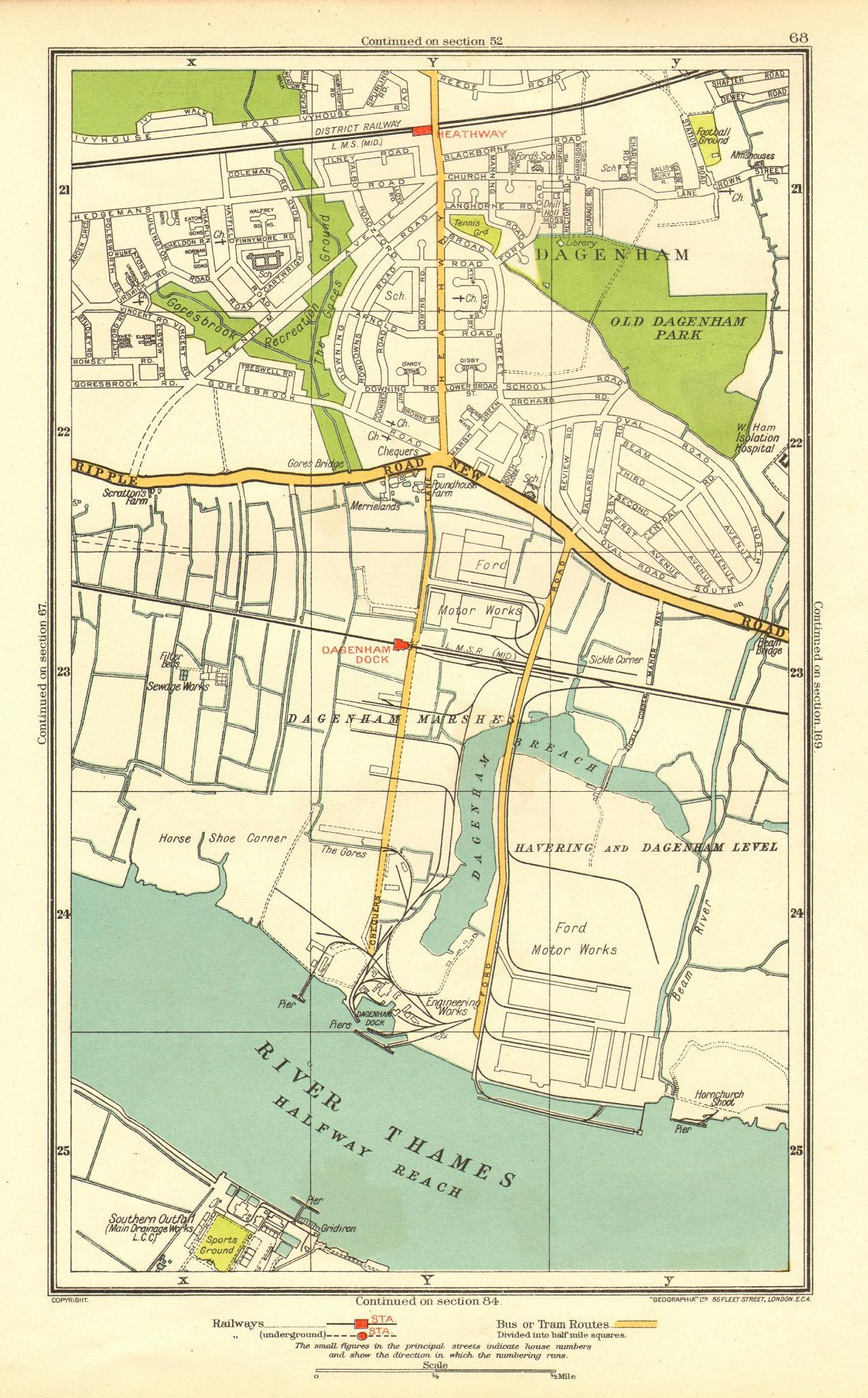 Associate Product LONDON. Dagenham Hornchurch Thamesmead Dagenham Dock 1937 old vintage map