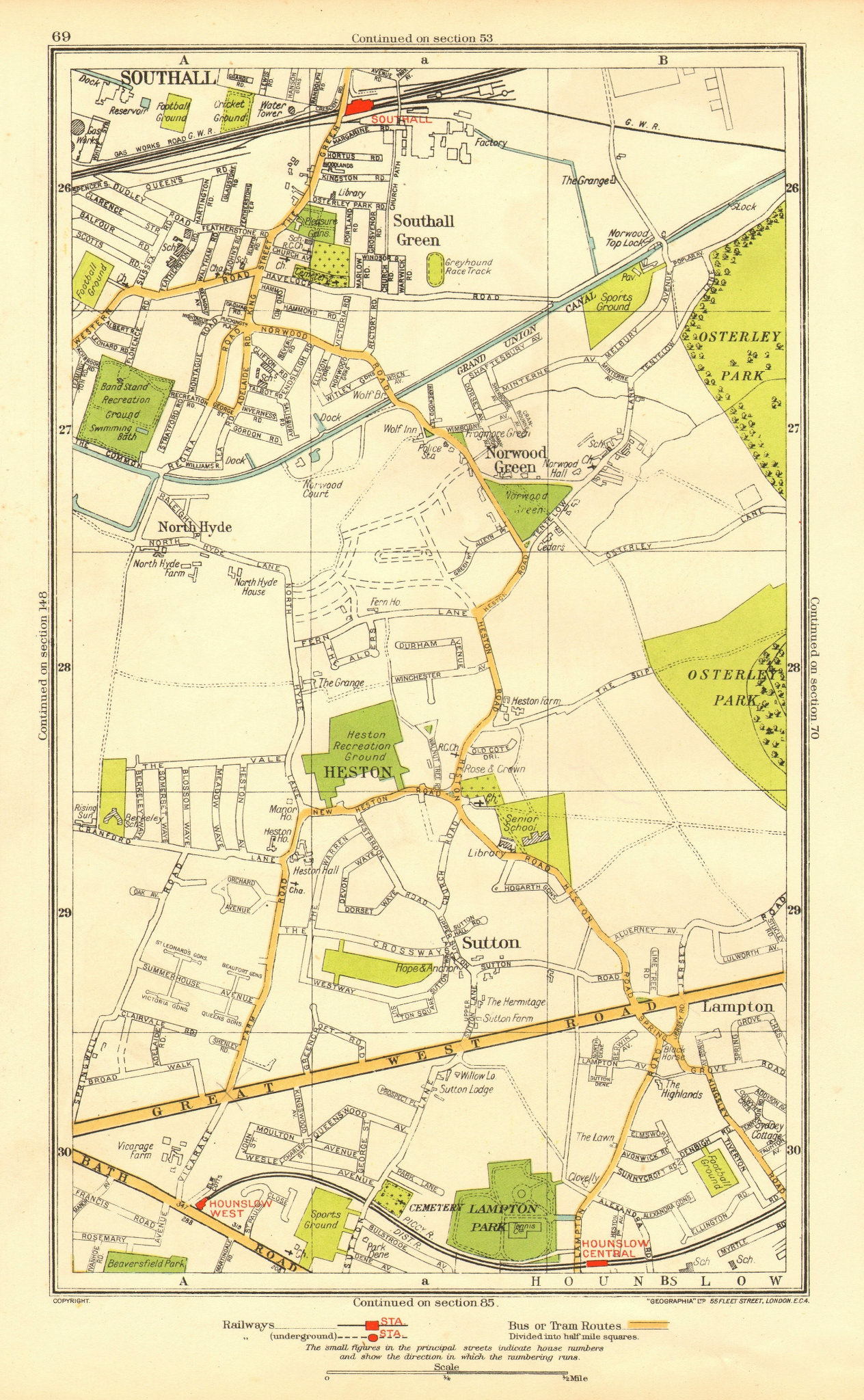 Associate Product HESTON. Hounslow Lampton Norwood Green Southall North Hyde Sutton 1937 old map