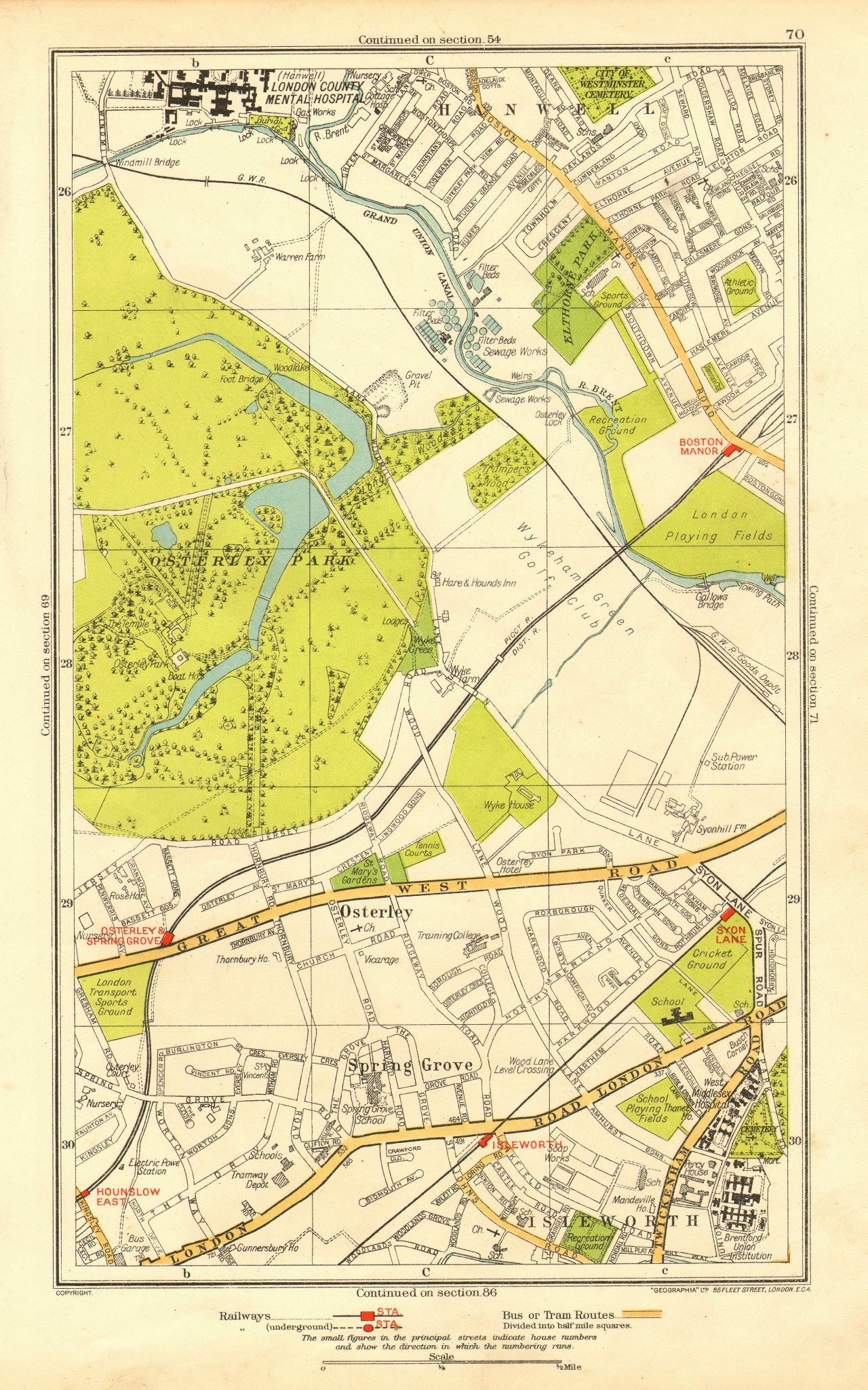 Associate Product LONDON. Isleworth Osterley Spring Grove Hounslow Boston Manor 1937 old map