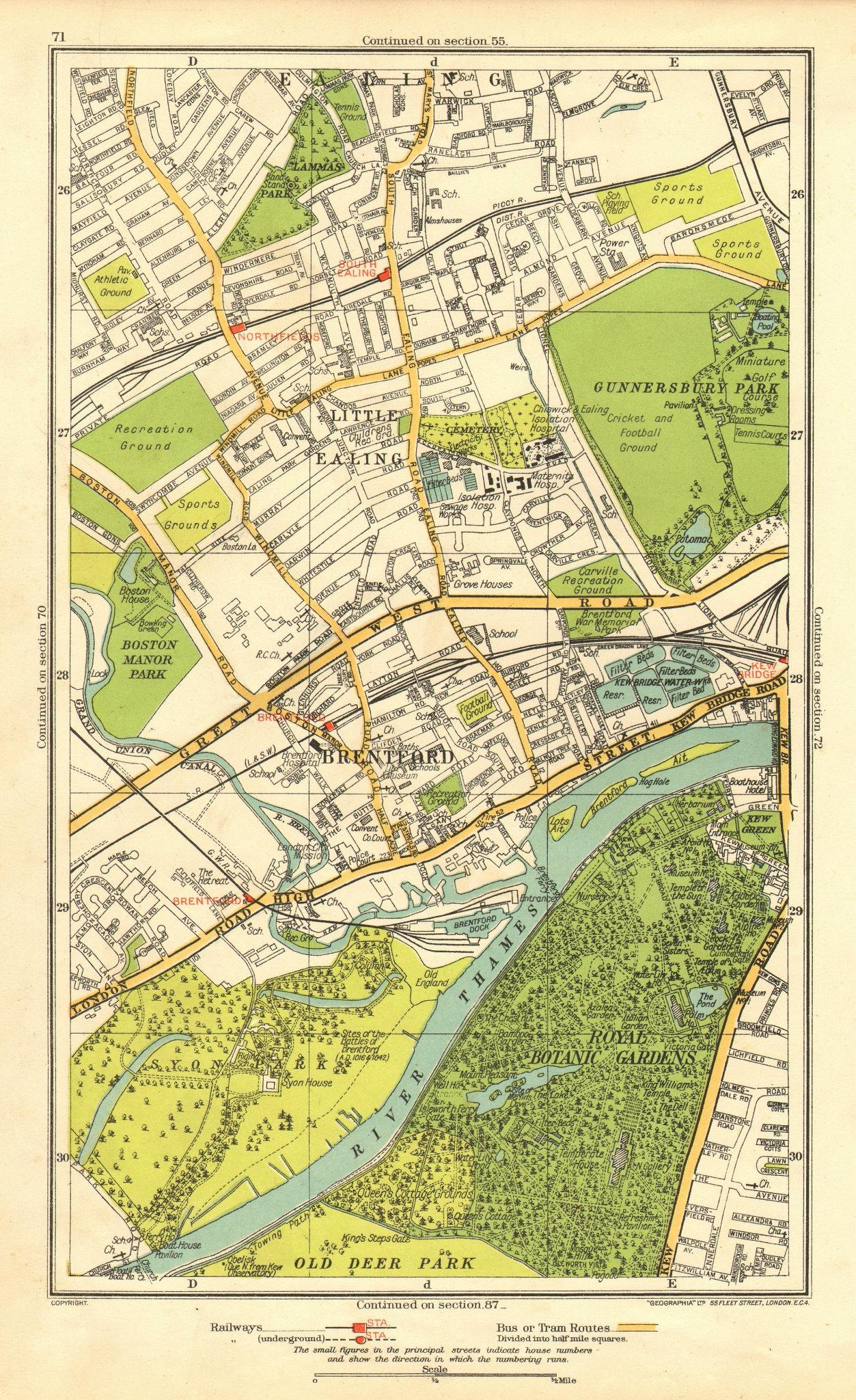 LONDON. Brentford Little Ealing Northfields Kew Bridge South Ealing 1937 map