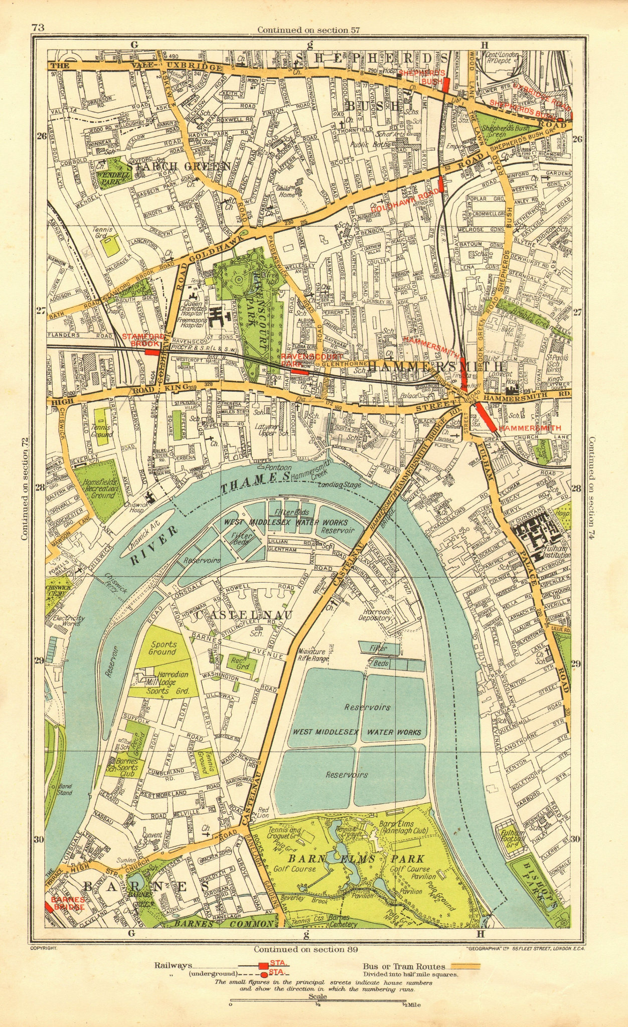 HAMMERSMITH. Barnes Shepherds Bush Fulham Castlenau Starch Green 1937 old map