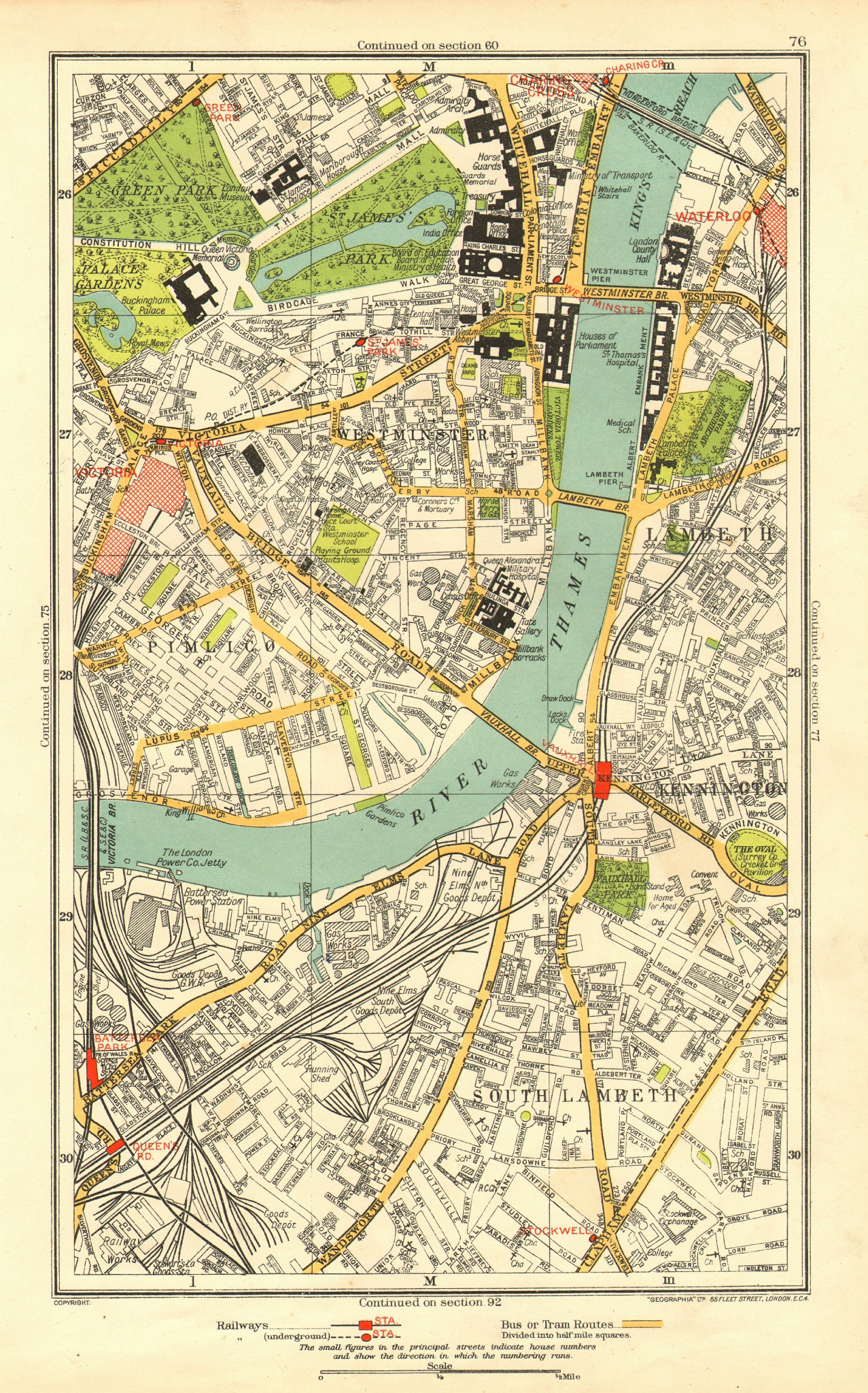Associate Product LONDON. Lambeth Westminster Victoria Oval Waterloo Charing Cross 1937 old map